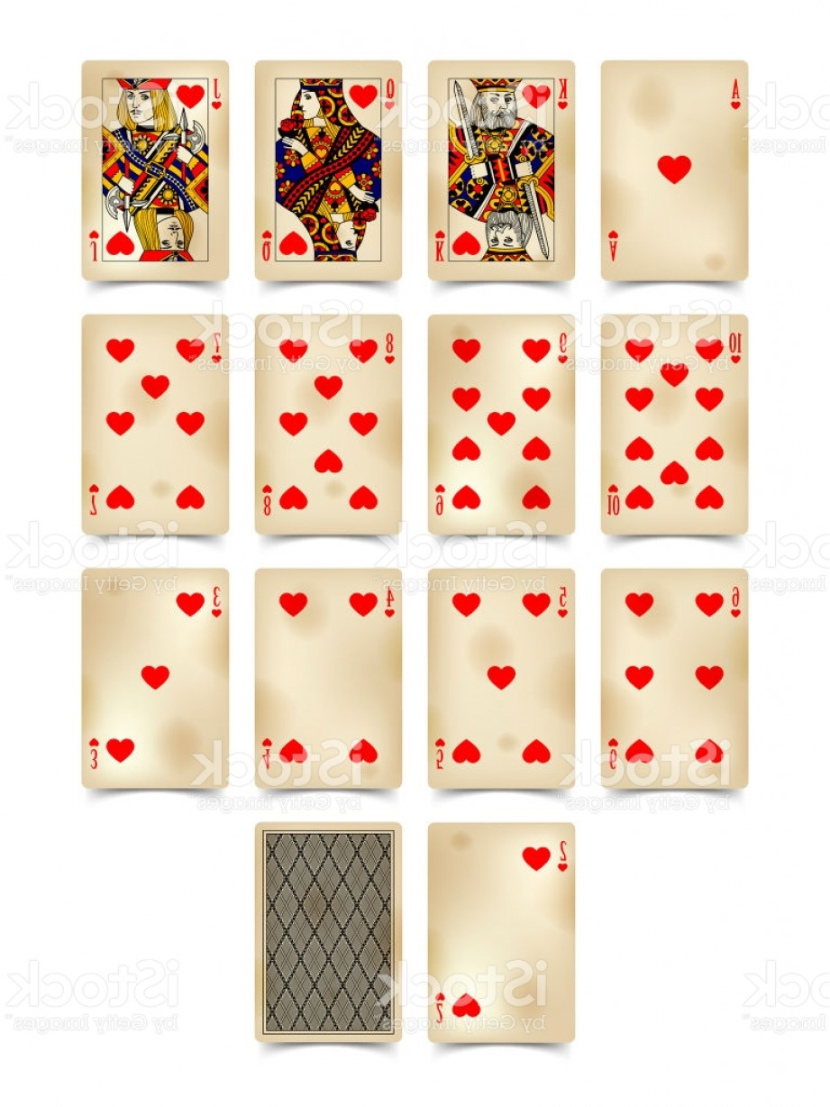 10 Playing Card Vector: Playing Cards Of Hearts Suit In Vintage Style Isolated On White Gm