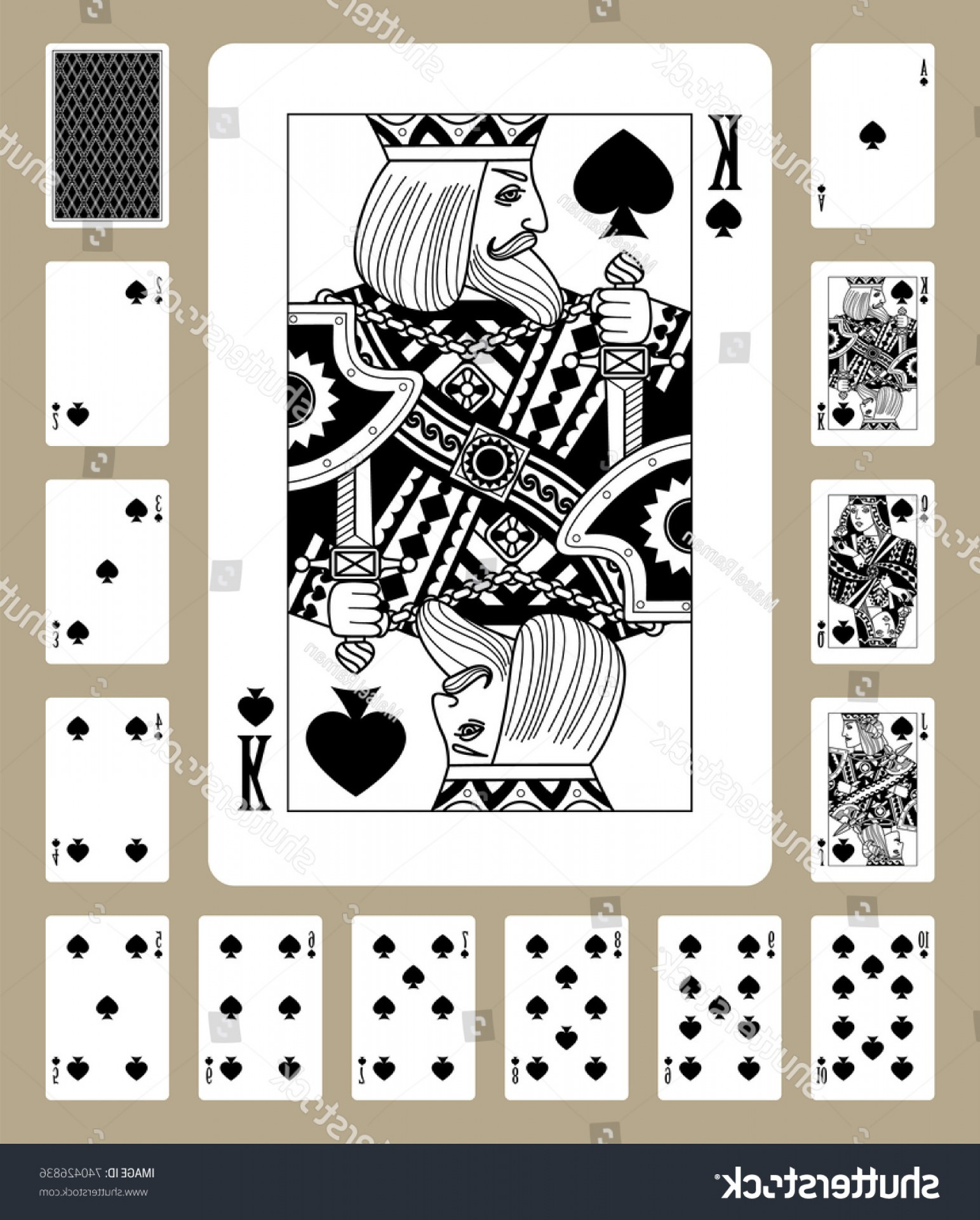 Playing Card Design Vector Illustration: Playing Cards Spades Suit Black White