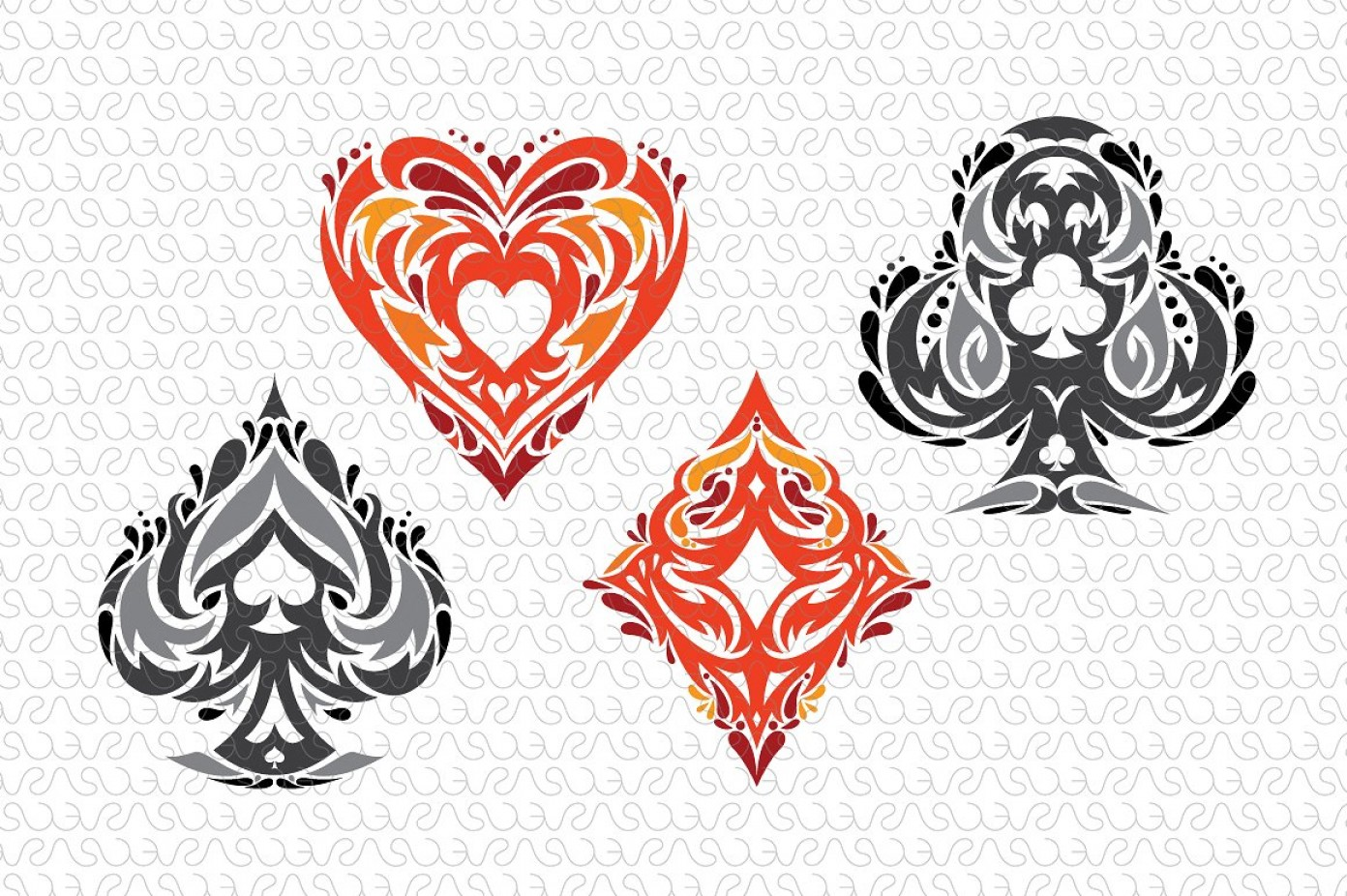 Playing Card Design Vector Illustration: Playing Cards Tribal Vector Symbols