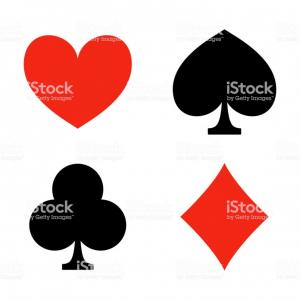 Vector Outline With Card Suits: Playing Card Suits Game Casino Icons Heart Diamond Club And Spade Vector Gm