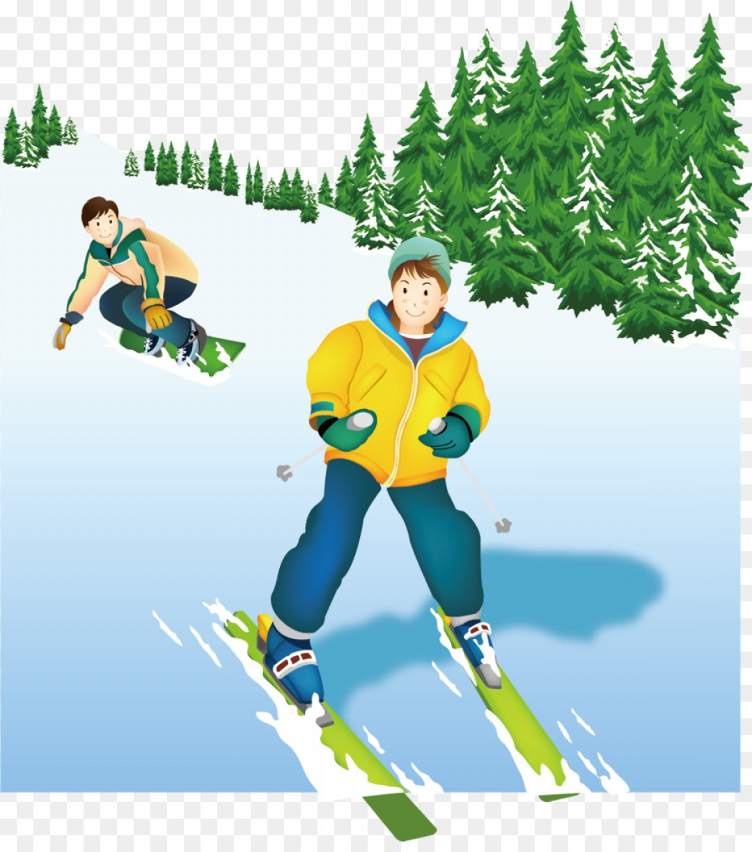 Transparent PNG Vector Skier: Png Adobe Illustrator Skiing Snow Ski Snow Vector Wint