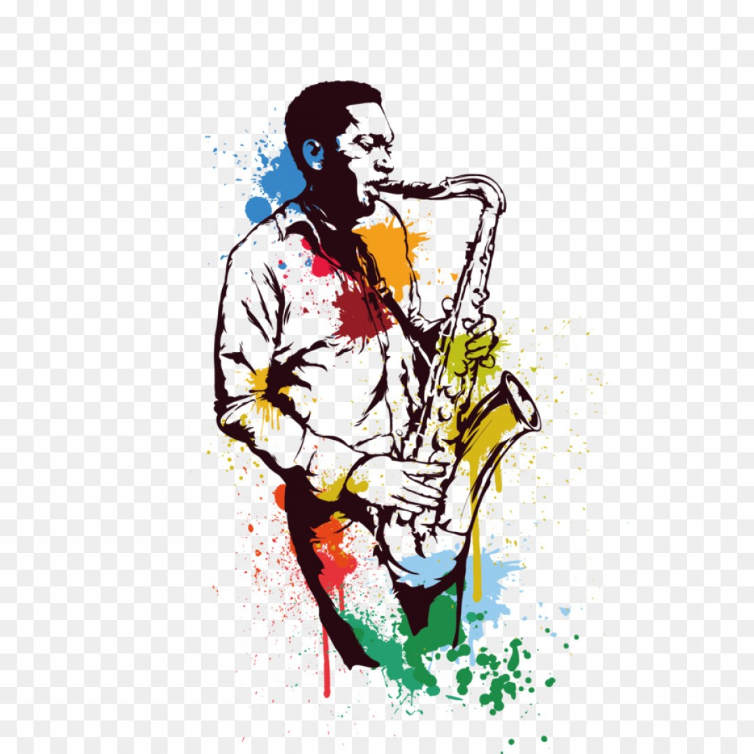 Alto Saxophone Vector Graphics: Png Alto Saxophone Jazz Art Vector Saxophone People