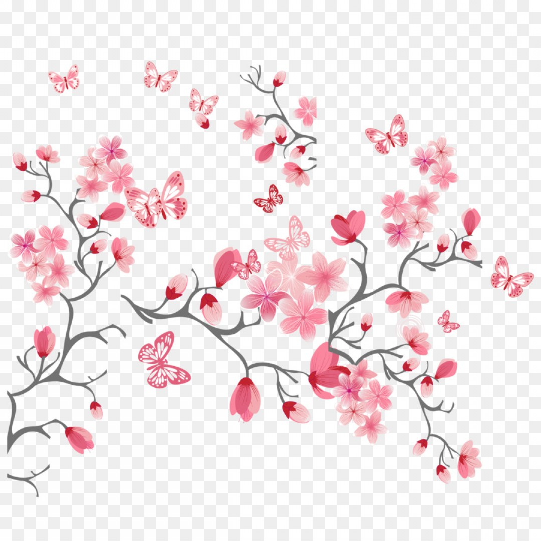 Bud Vector: Png Cherry Blossom Flower Pink Pink And Peach Bud Vect