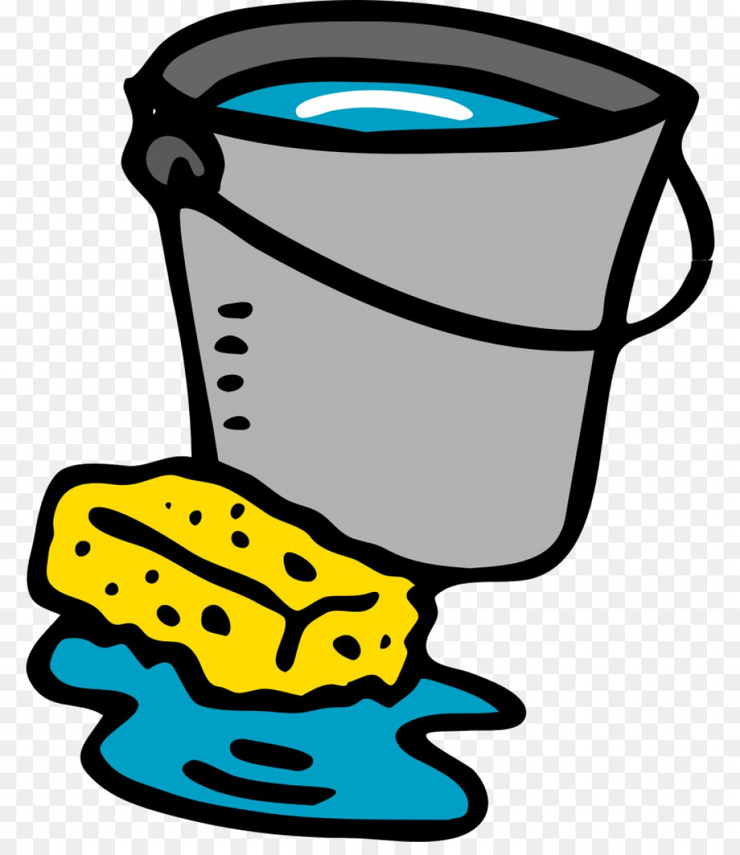Mop And Bucket Clip Art Vector: Png Clip Art Openclipart Vector Graphics Bucket Cleani