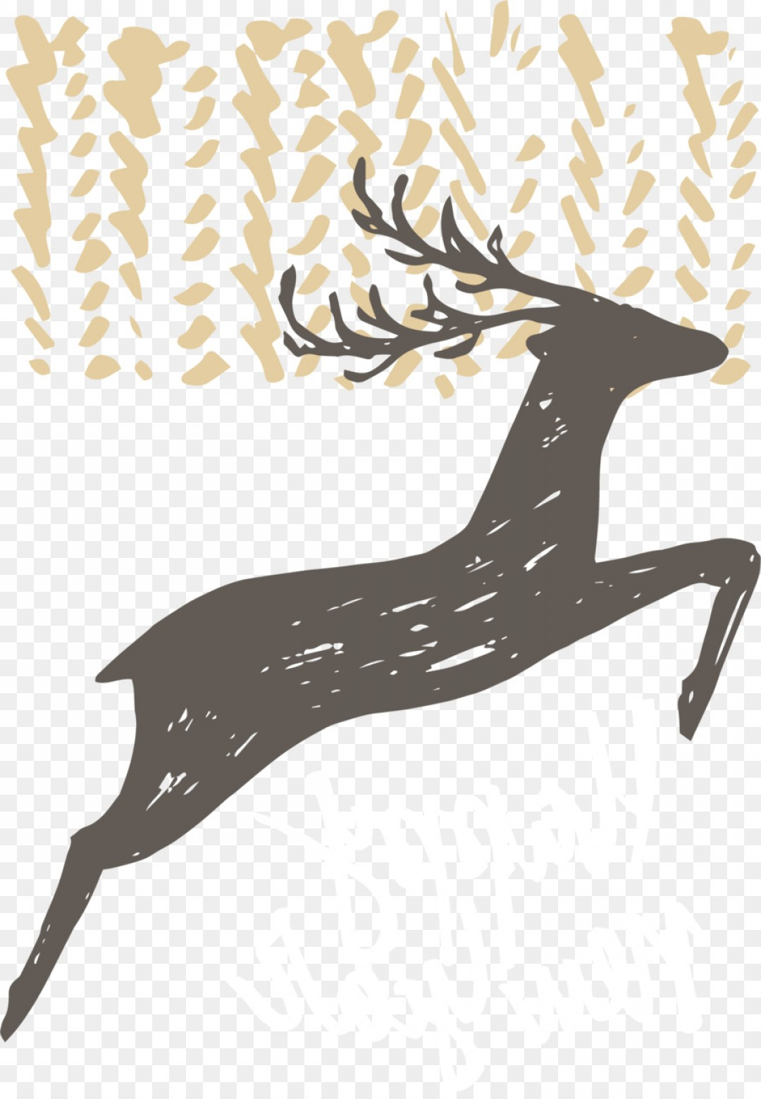 Kissing Reindeer Silhouette Vector: Png Deer Poster Euclidean Vector Vector Hand Painted B