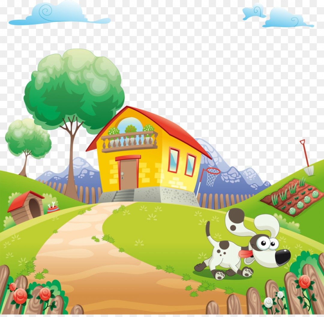Farm Vector Illustration: Png Home Animal Cartoon Illustration Cartoon Mountain