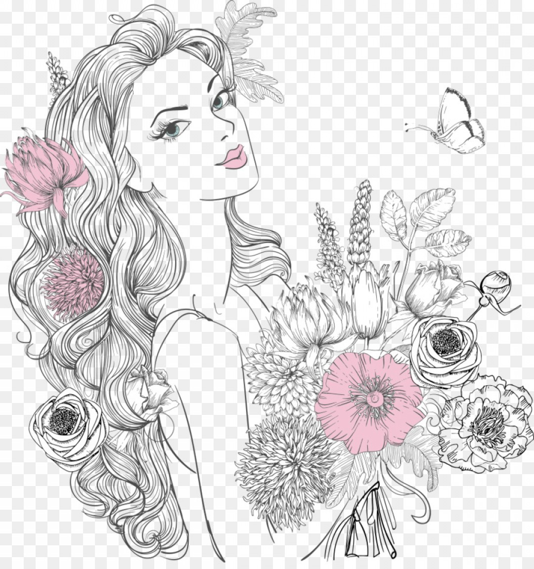 Women With Roses Vector: Png Woman Drawing Flower Portrait Beautiful Women Hold
