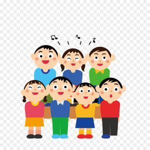 Choir Vector: Abstract Choir Outlines Of Singing Faces With Notes Vector Clipart
