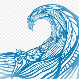 Ocean Wave Vector Illustration: Collection Of Simple Ocean Wave Gm