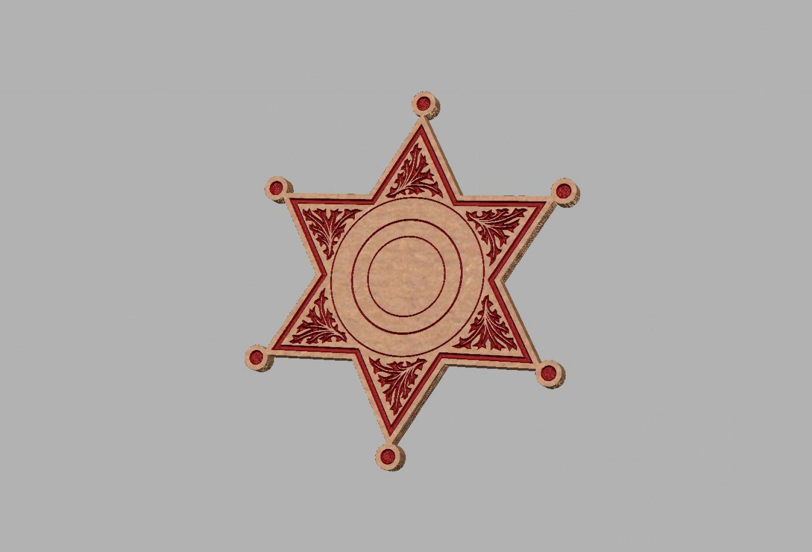 Star Badge Vector: Point Star Badge Vector Dxf File