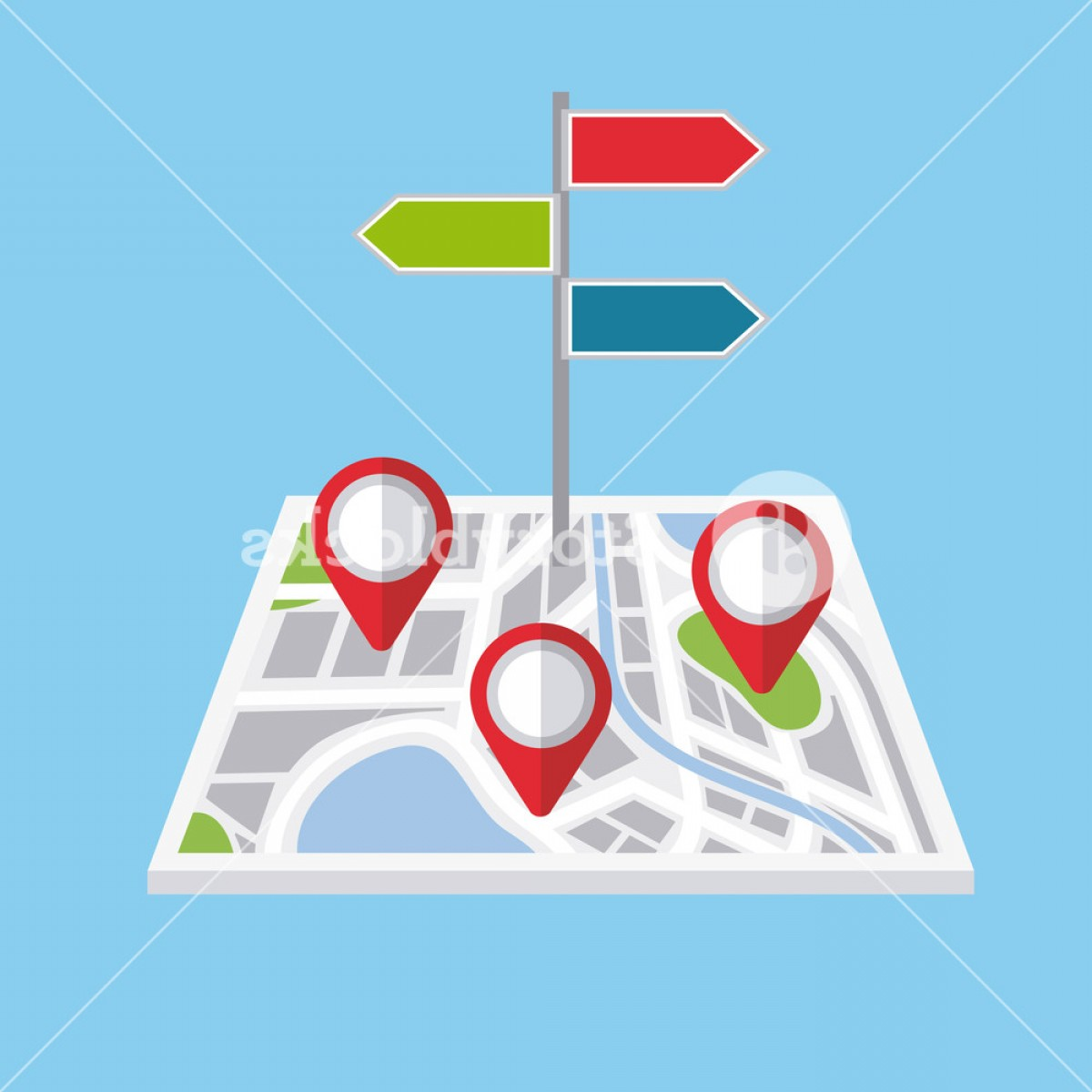 Vector Signal Direction: Pointers Map Navigation Direction Localization Signal Vector Illustration Slahzufjegzlym