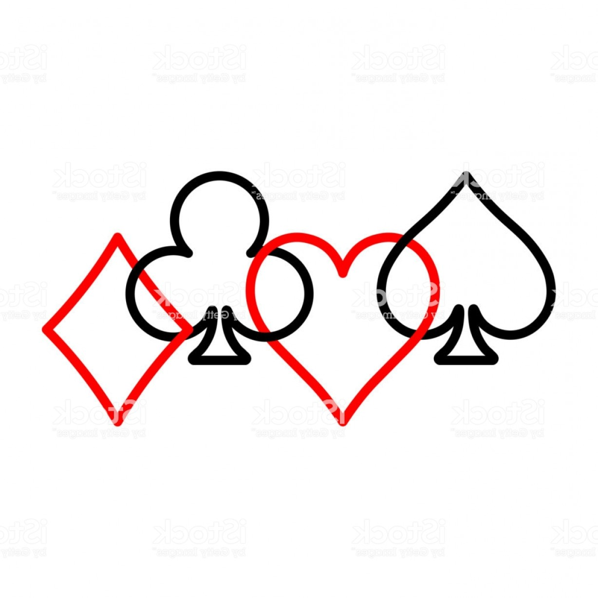 Card Suits Vector Outlines: Poker Card Suits Hearts Clubs Spades And Diamonds On White Background Casino Gm