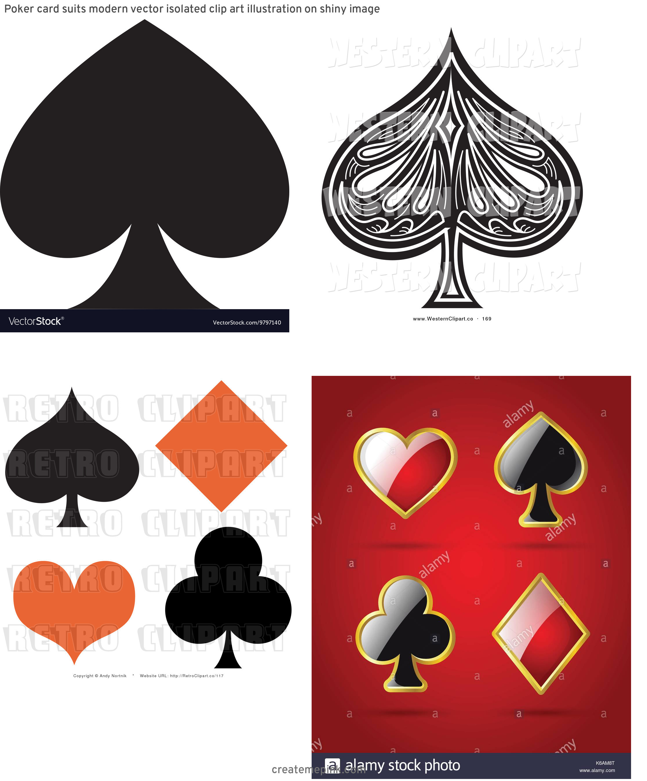 Spade Vector Clip Art: Poker Card Suits Modern Vector Isolated Clip Art Illustration On Shiny Image