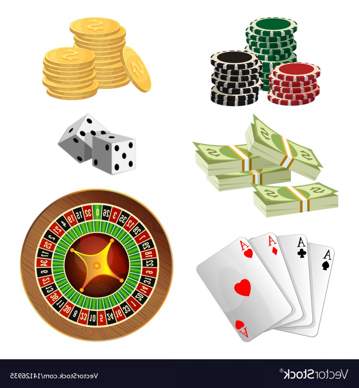 Editable Vector Poker Chips: Poker Chips Golden Coins With Dollar Money Aces Vector
