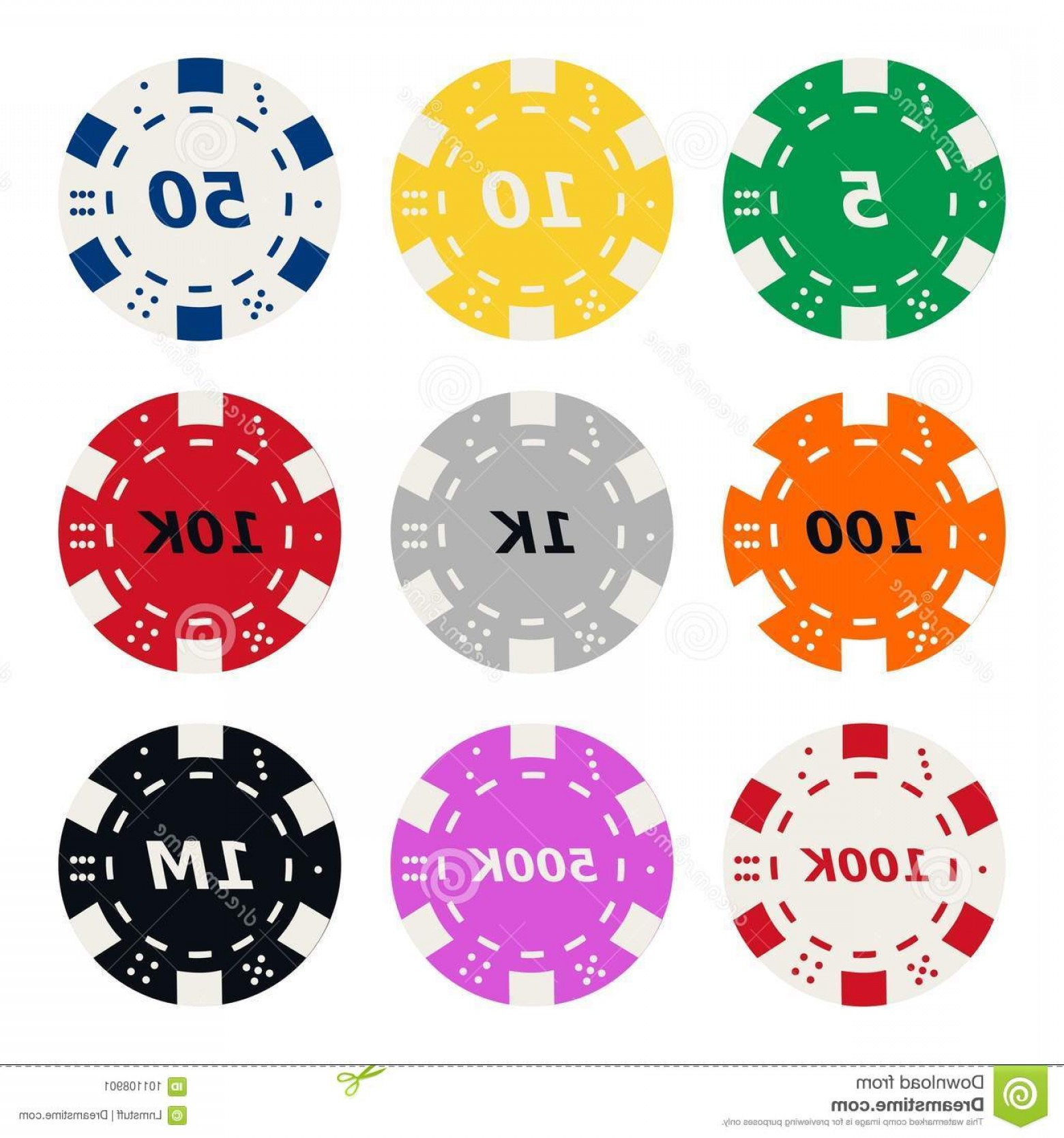 Editable Vector Poker Chips: Poker Chips High Quality Vector Collection Different Colors Value Making Seamless Pattern Full Editable Eps File Image