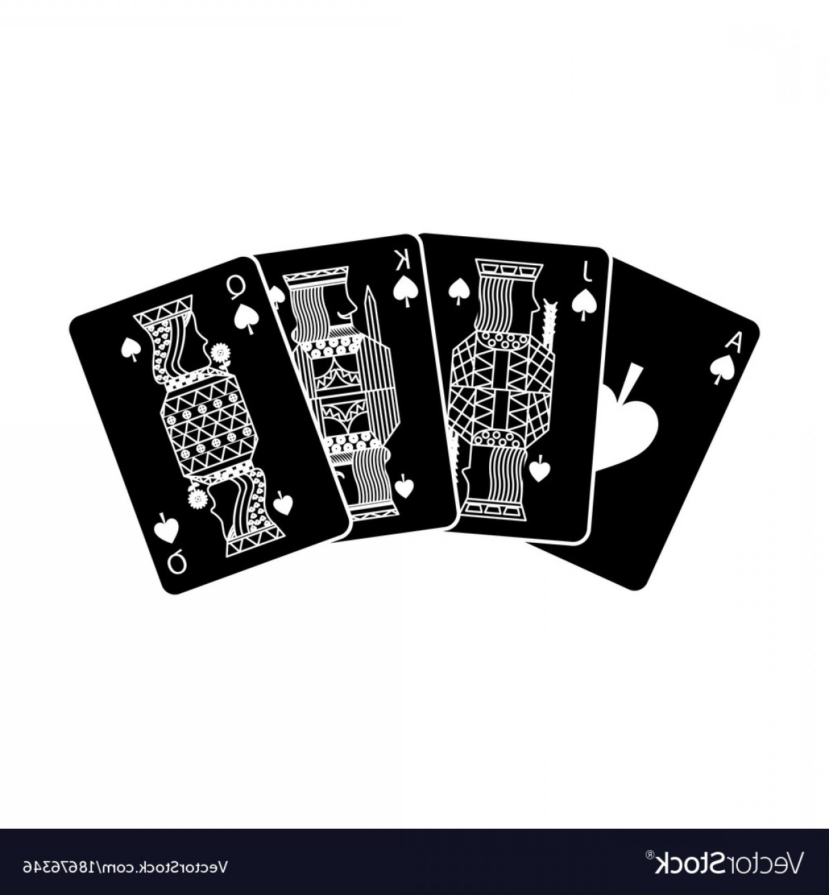 Playing Card Design Vector Illustration: Poker Playing Cards Ace Jack Queen And King Spade Vector