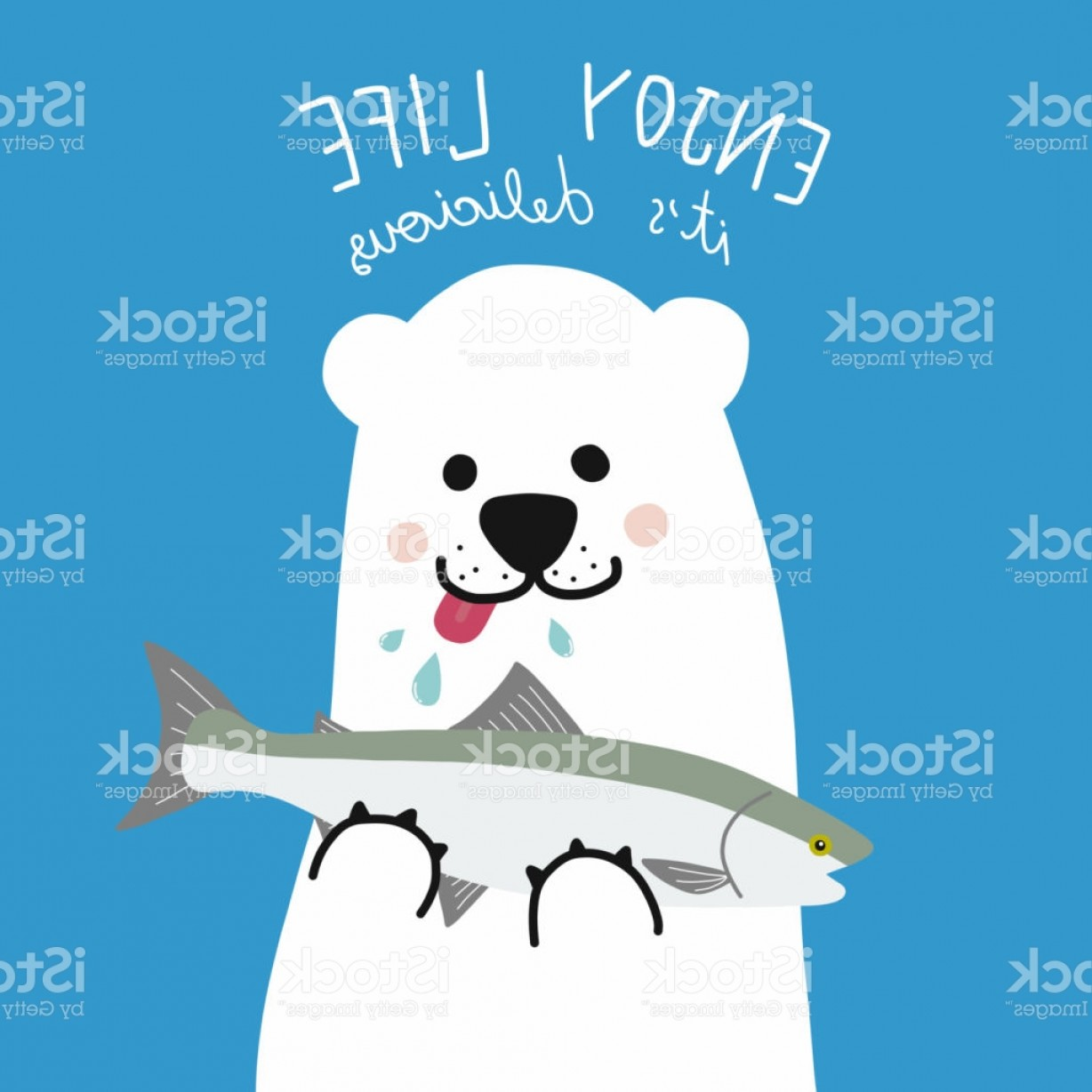 Vector Art Bear With Salmon: Polar White Bear Eat Salmon Fish Enjoy Life Its Delicious Gm