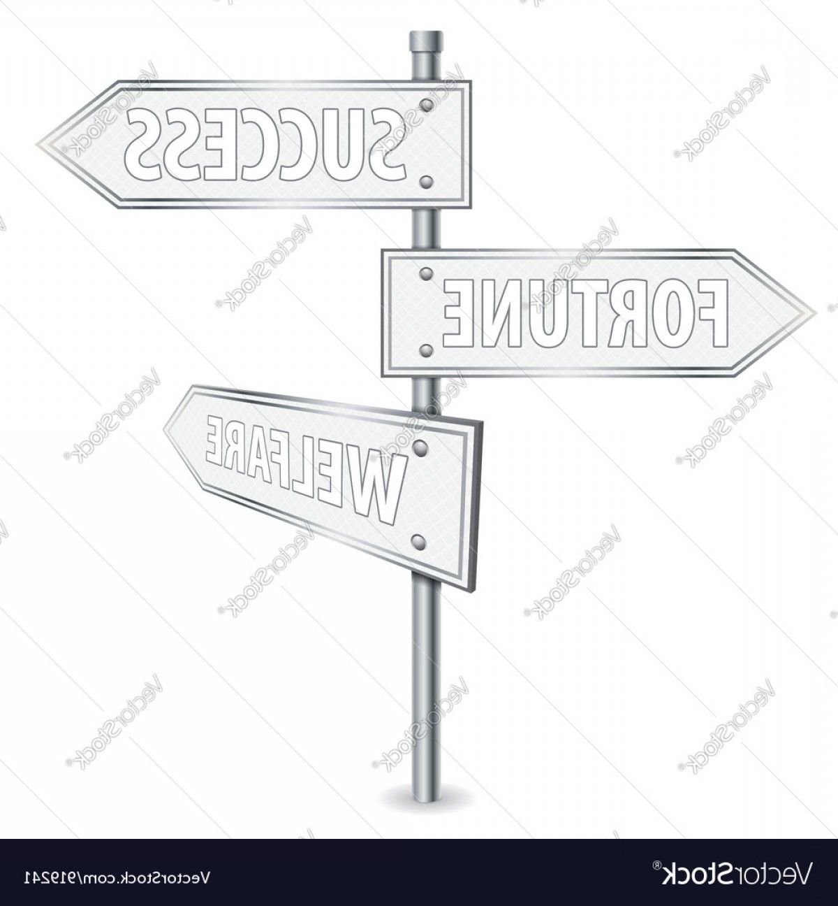 Vector Pole: Pole With Road Signs Vector