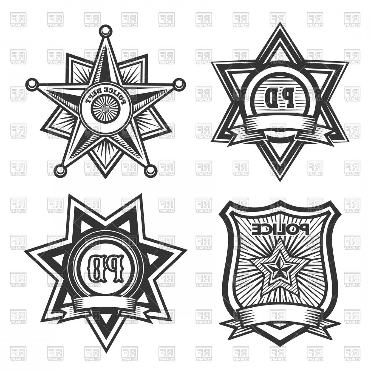 Law Enforcement Badges Vector: Police Badges And Emblems Vector Clipart