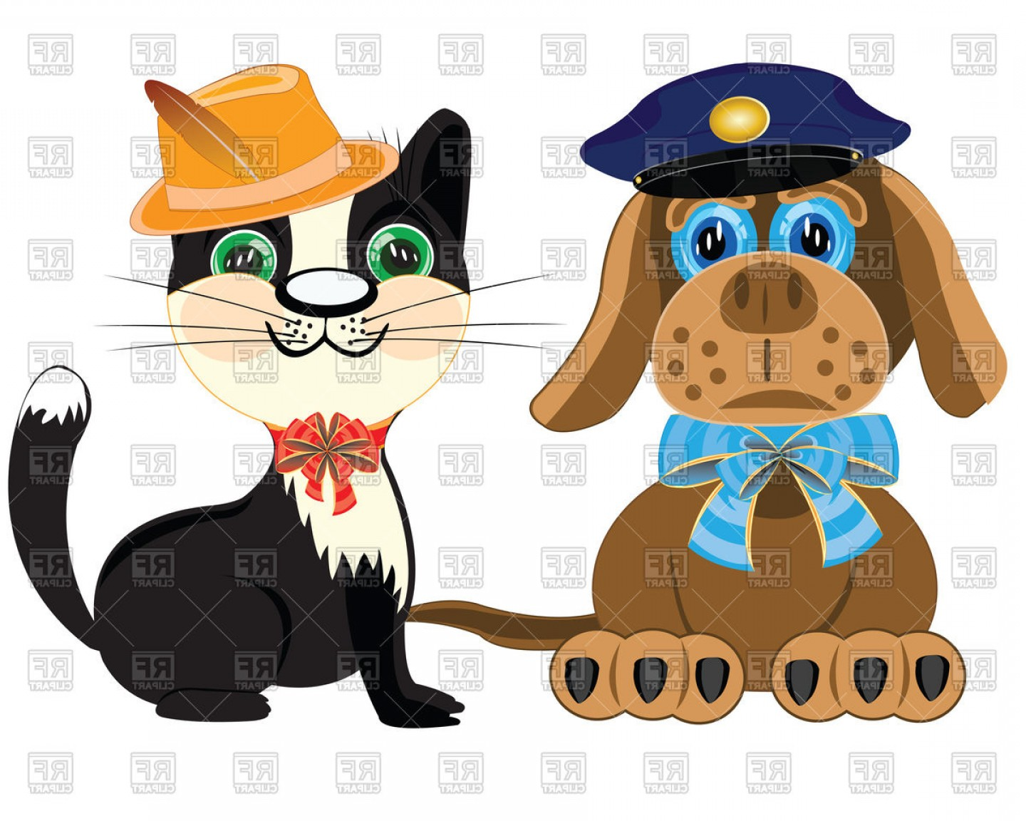 Dog And Cat Vector Illustration: Police Dog And Cat In Hat Vector Clipart