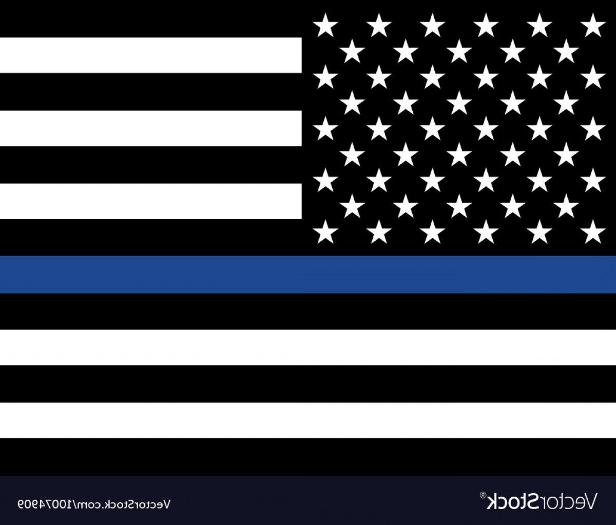 US Flag Vector Lines: Police Law Enforcement American Flag Vector