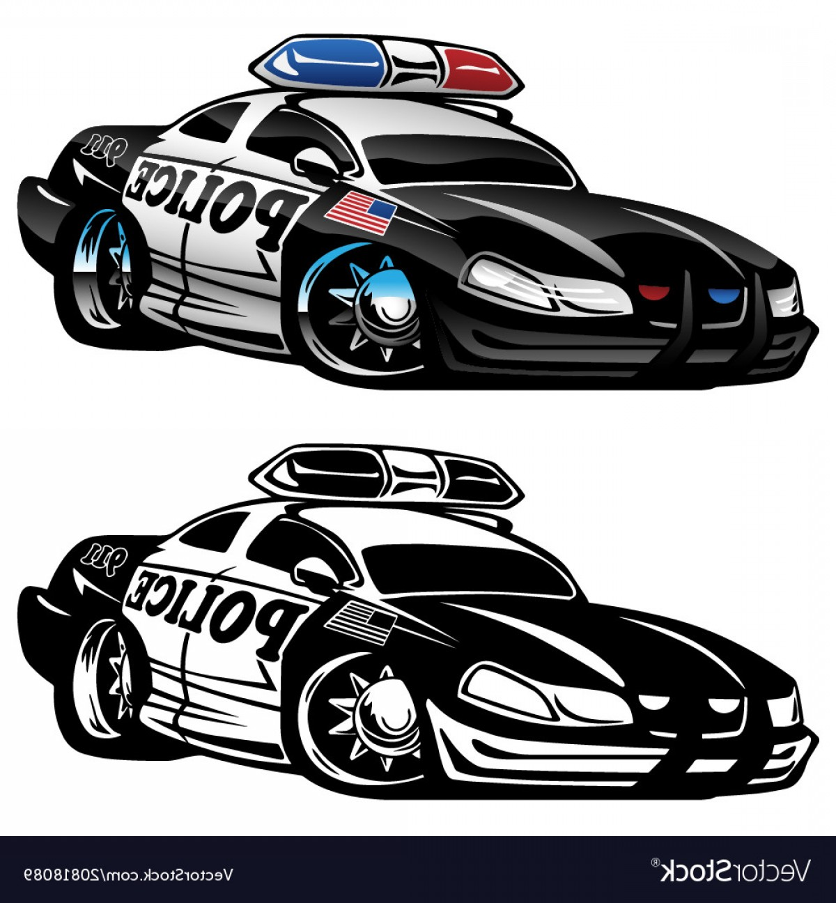 Custom Police Cars Vector: Police Muscle Car Cartoon Vector