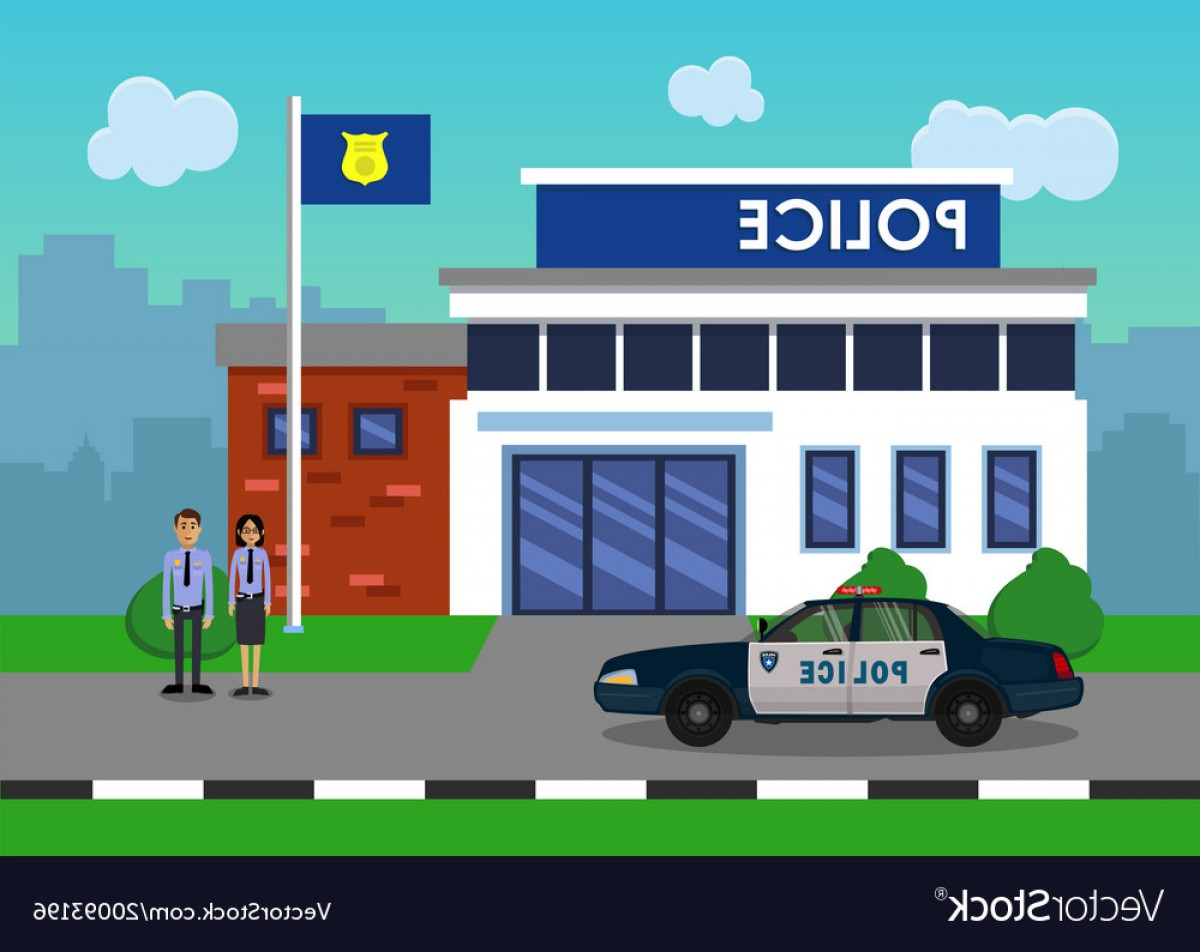 Vector Police Department: Policemen On The Background Of The Police Station Vector