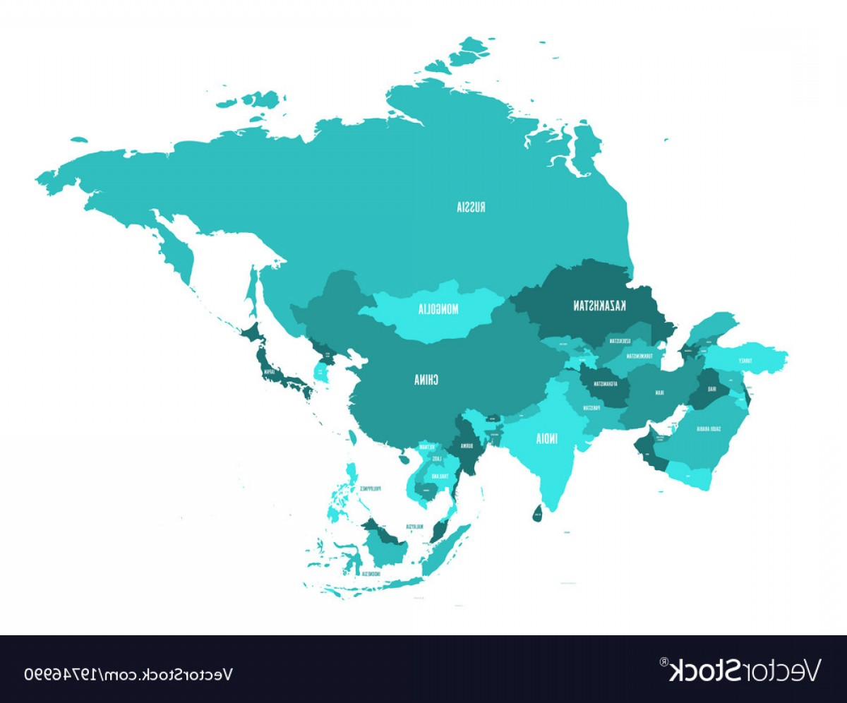 Asia Continent Map Vector: Political Map Of Asia Continent In Shades Of Vector