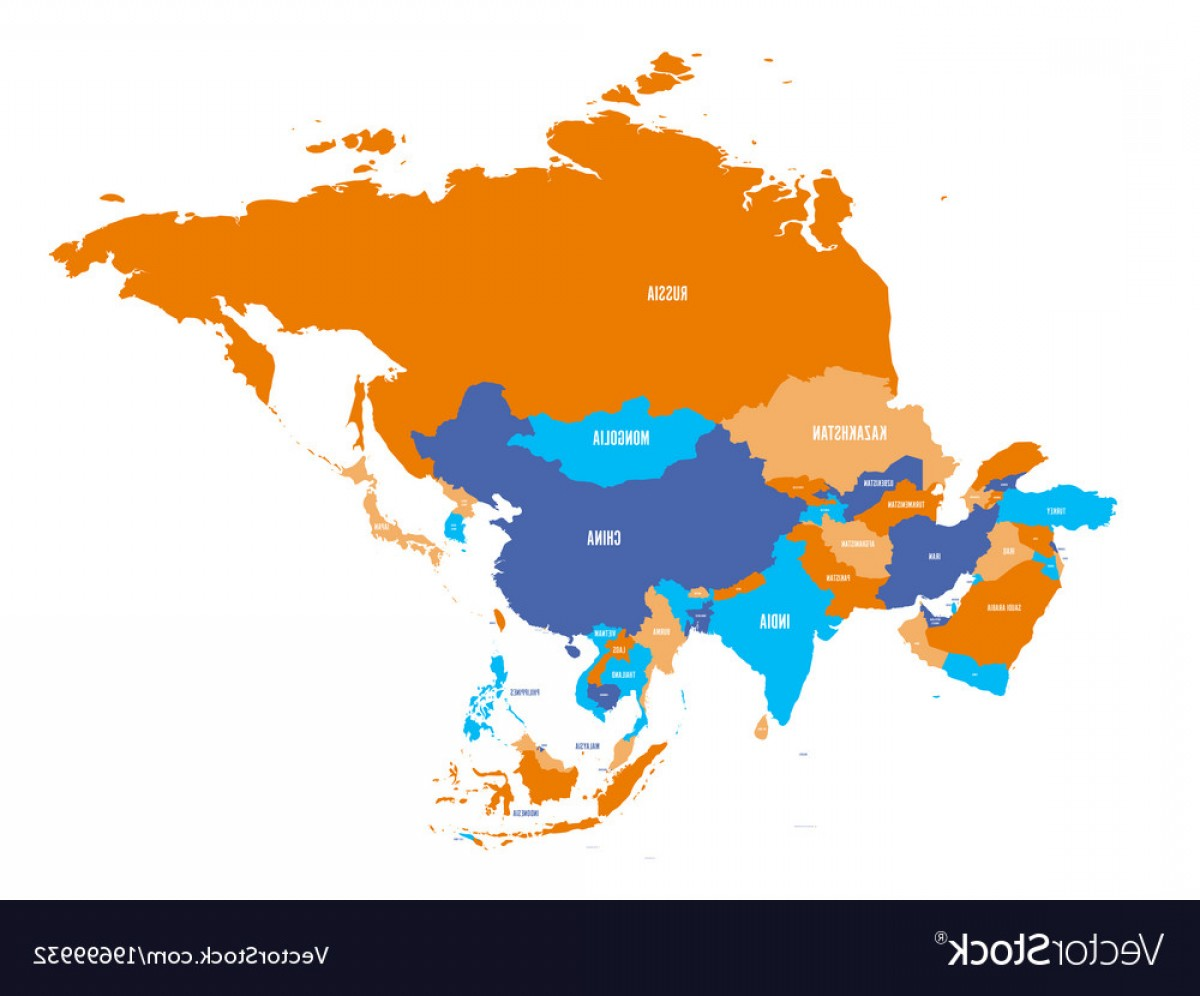 Asia Continent Map Vector: Political Map Of Asia Continent Vector