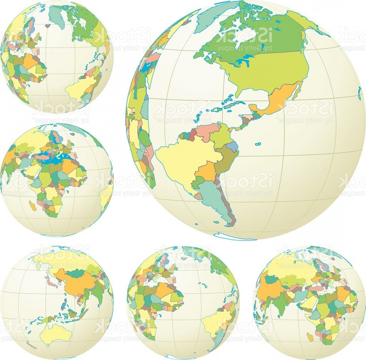 Vector Globe Countries: Political World Globe Set With Countries Done In Pastel Colors Gm