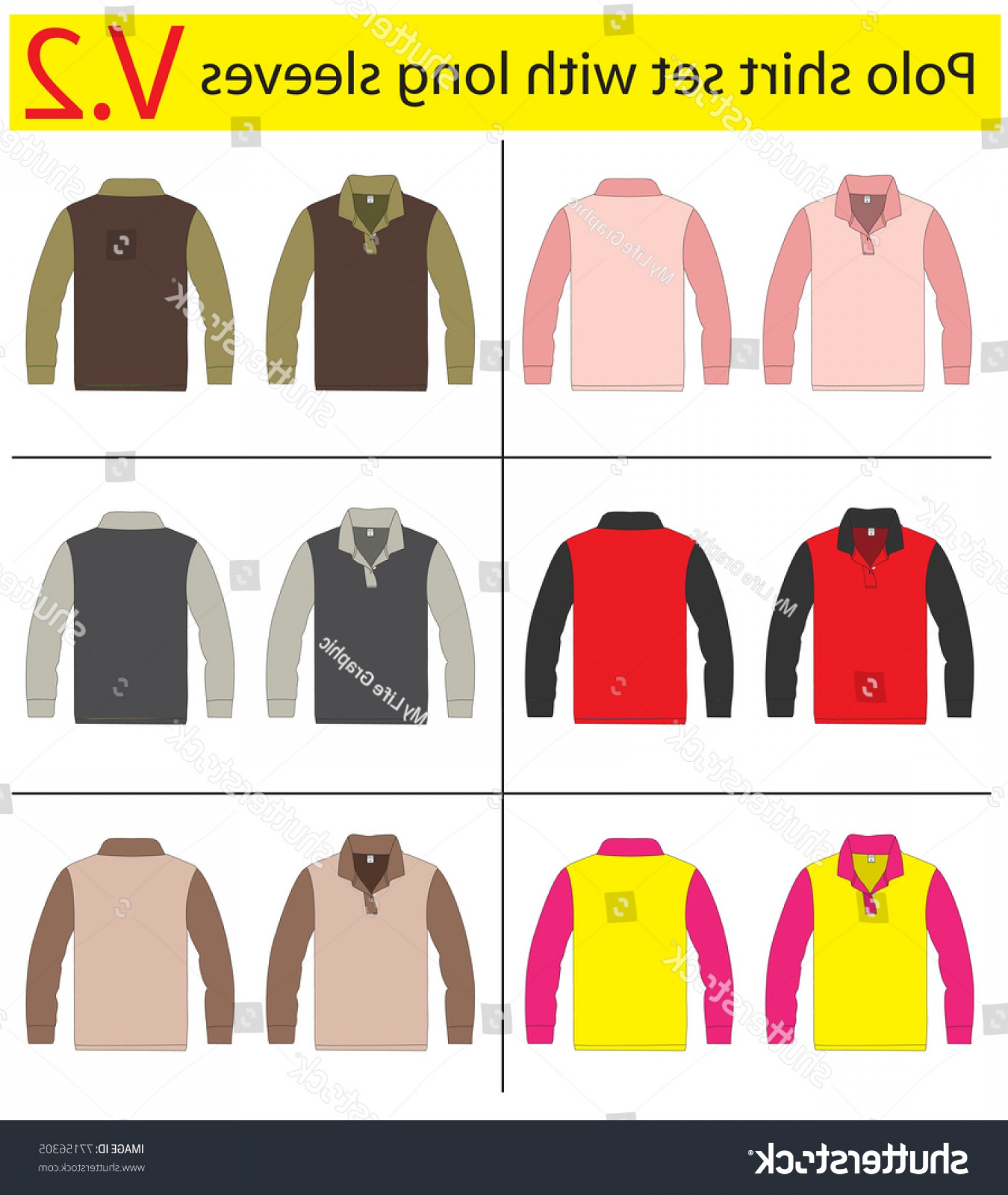 Long Sleeve Jersey Vector Template: Polo Shirt Long Sleeves Vector Template