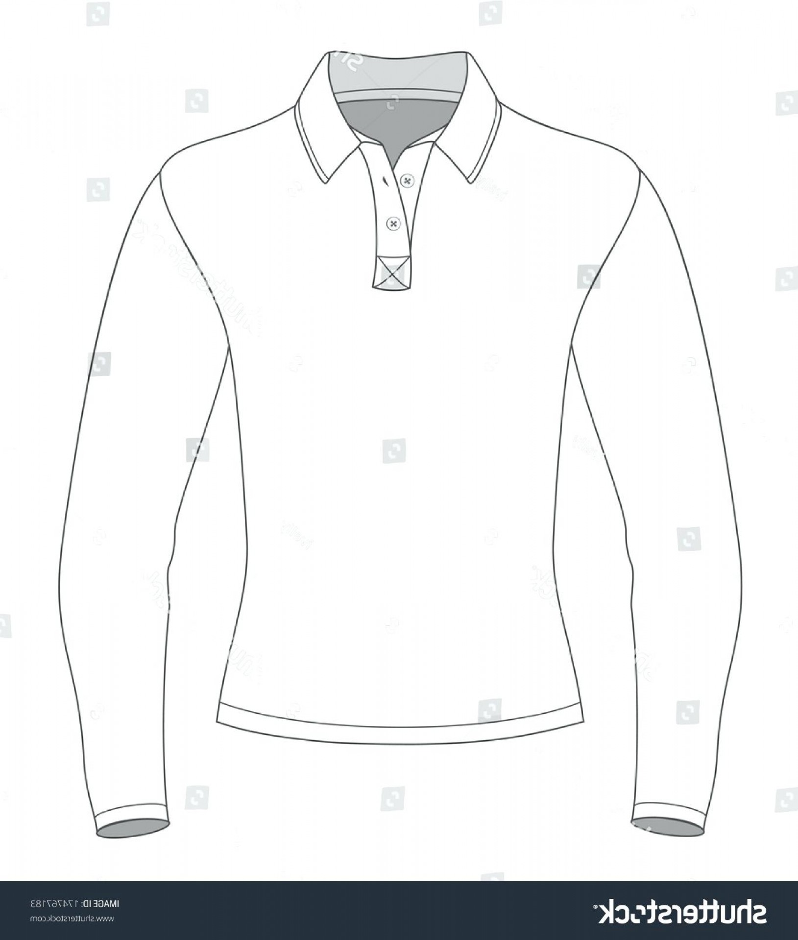 Long Sleeve Jersey Vector Template: Polo Shirt Template Vector Long Sleeve Design Templates Front View Illustration No Ai