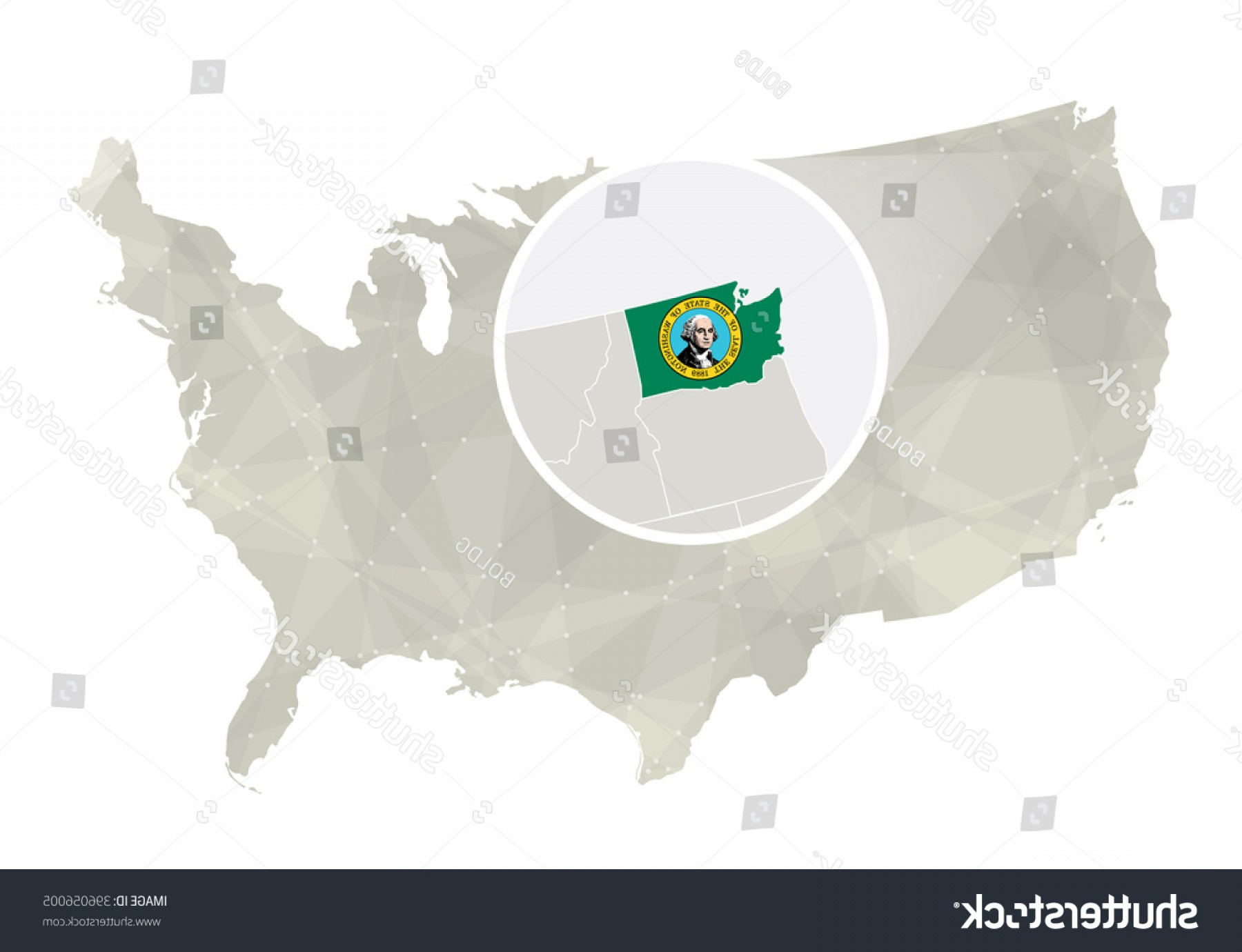 Washington State Map Vector: Polygonal Abstract Usa Map Magnified Washington