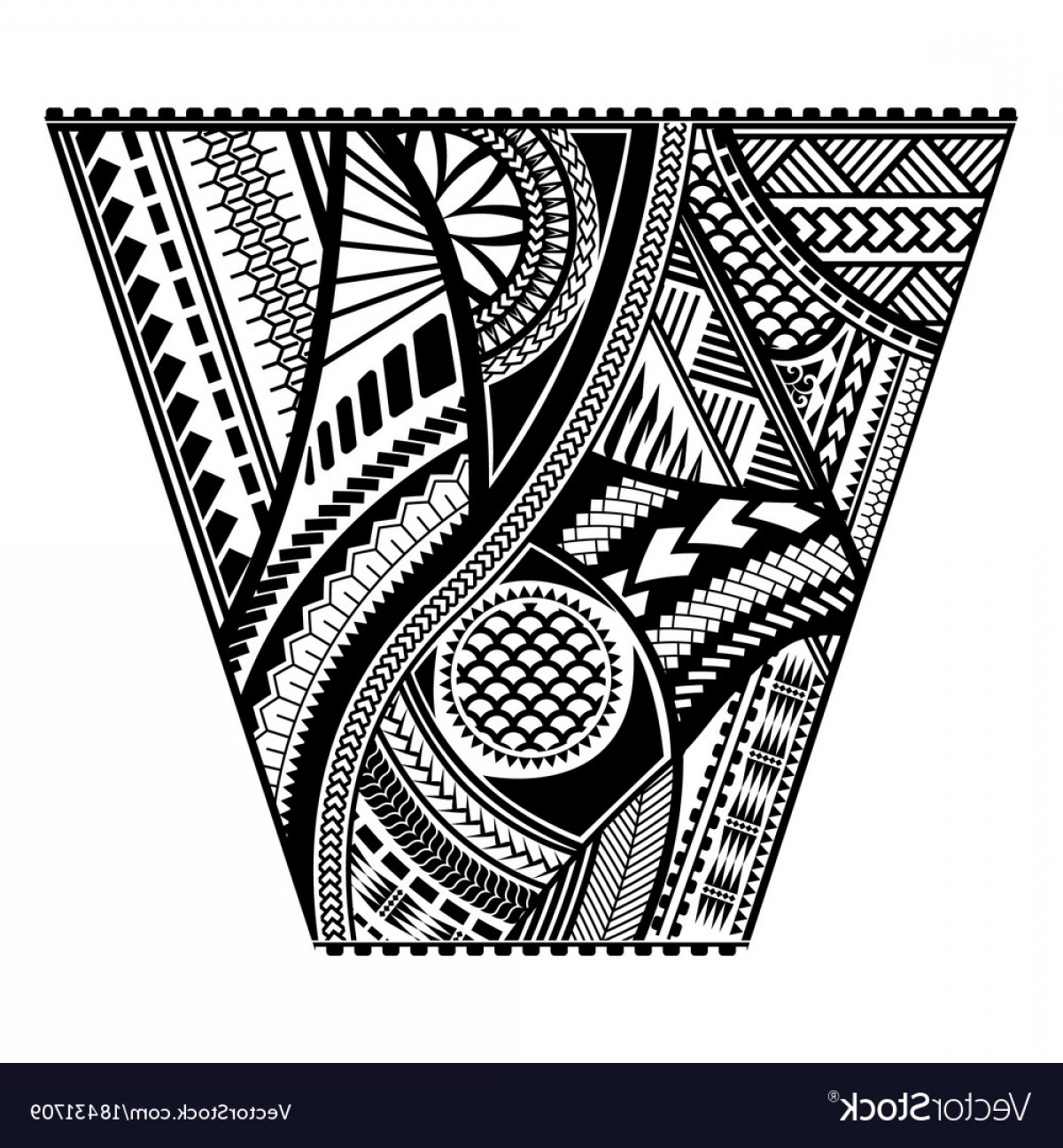 Vector Tribal Tattoo Sleeve: Polynesian Tattoo Style Sleeve Design Vector