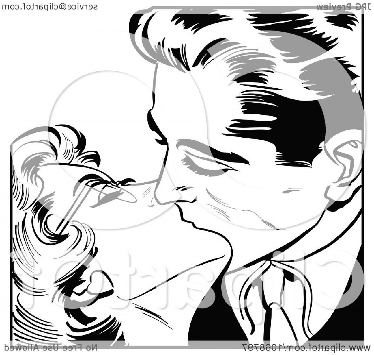 Kiss Clip Art Vector: Pop Art Couple Kissing In Black And White