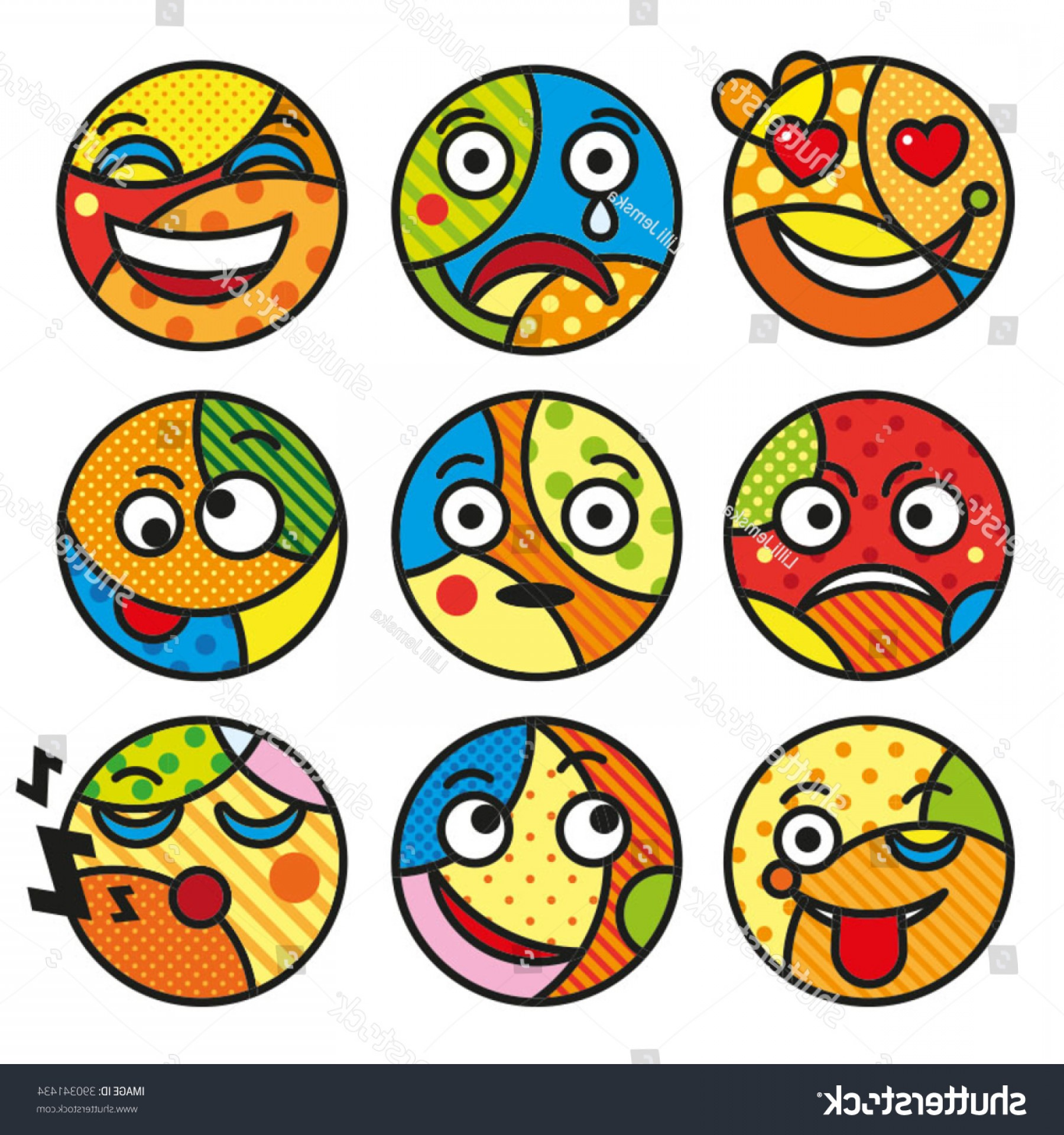 Popular Vector Emoji: Pop Art Emoticons Set Emoji Isolated