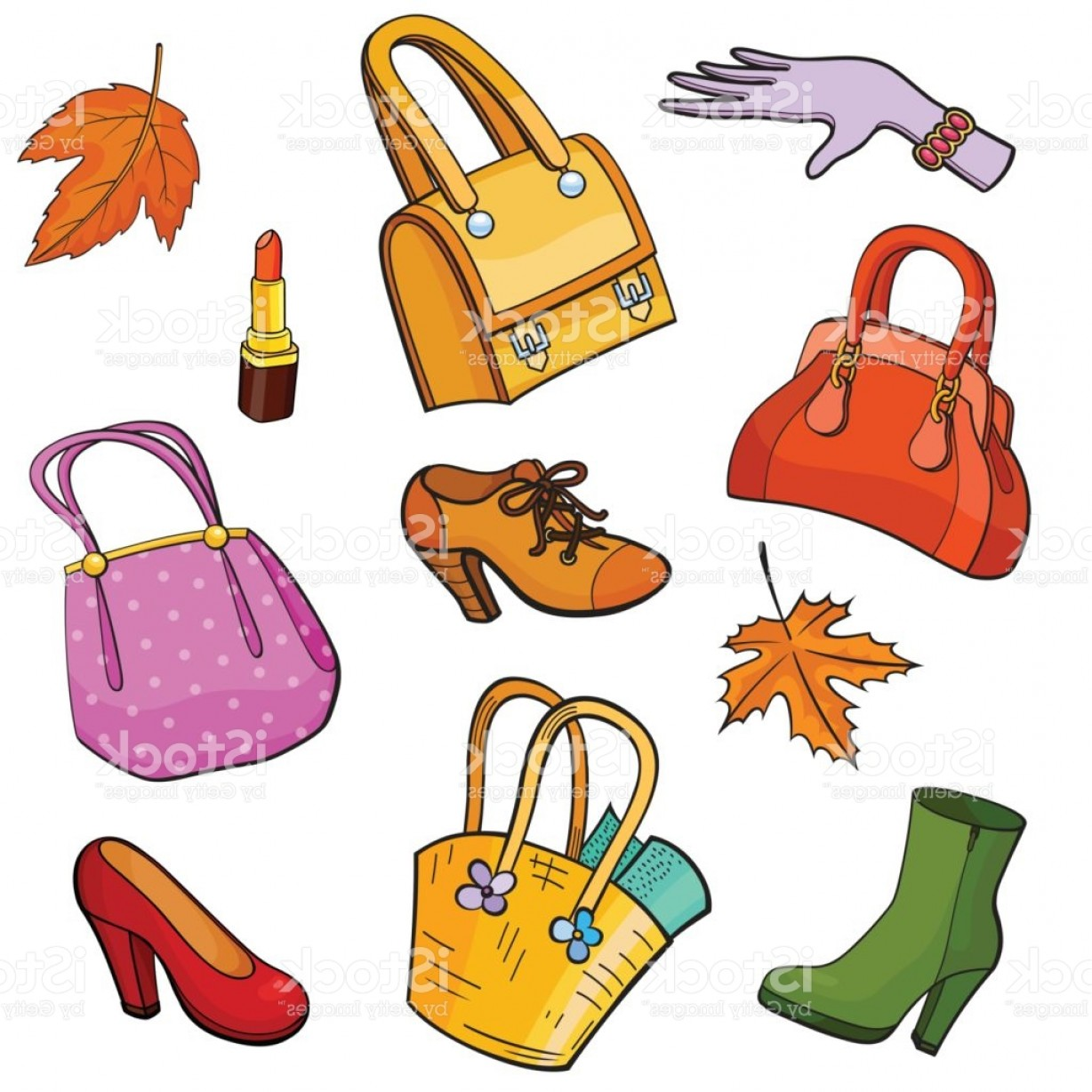 Purse Vector Art: Pop Art Style Fashion Background With Accessories Gm