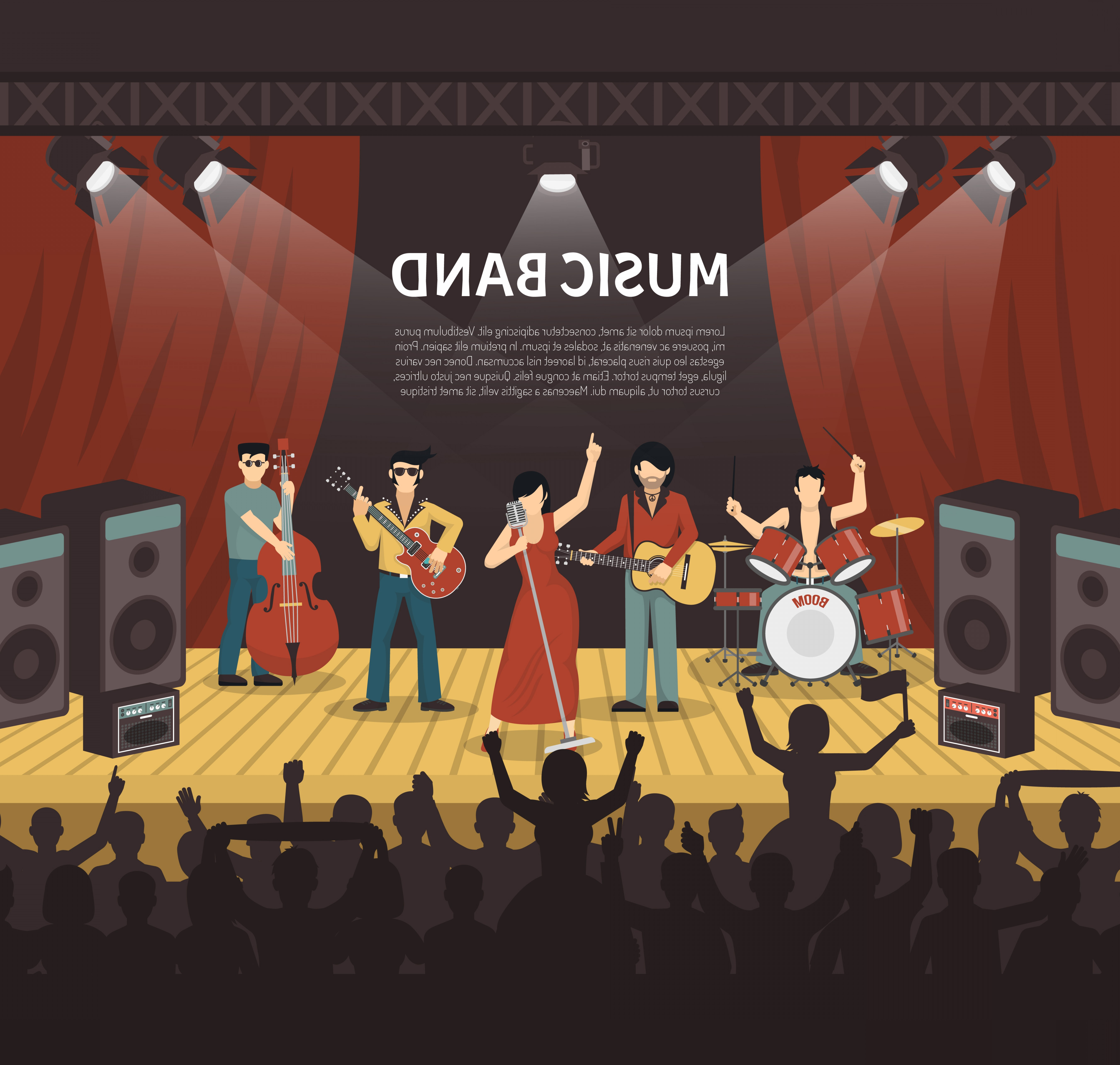 Vector Stage Audience: Pop Music Band Vector Illustration