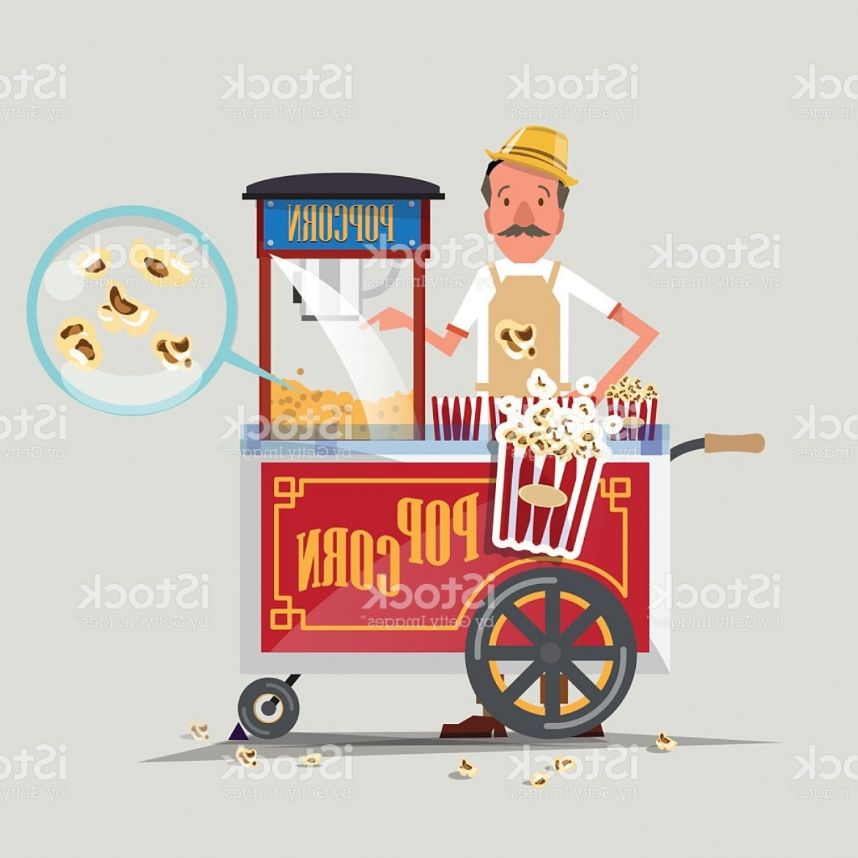 Candy Seller Vector: Popcorn Cart With Seller Vector Illustration Gm