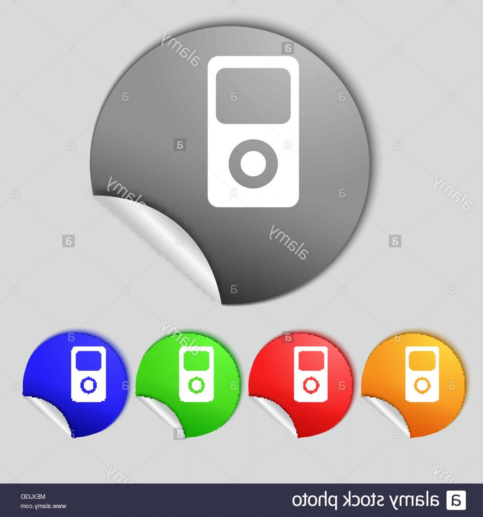 Buttons Vector Art: Portable Musical Player Icon Set Colur Buttons Vector Illustration Image
