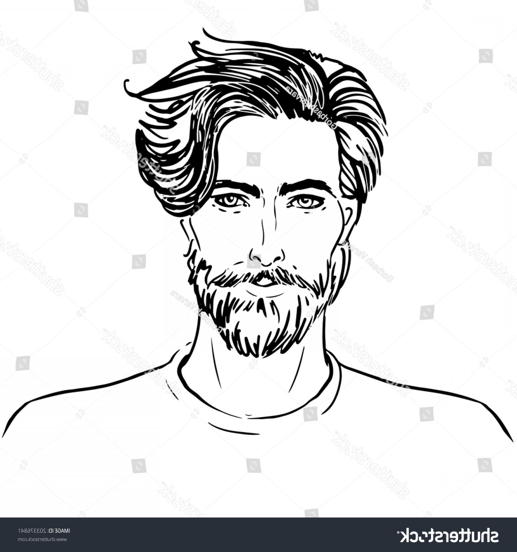 Handsome Man Vector Outline: Portrait Handsome Man Beard Sketch Style