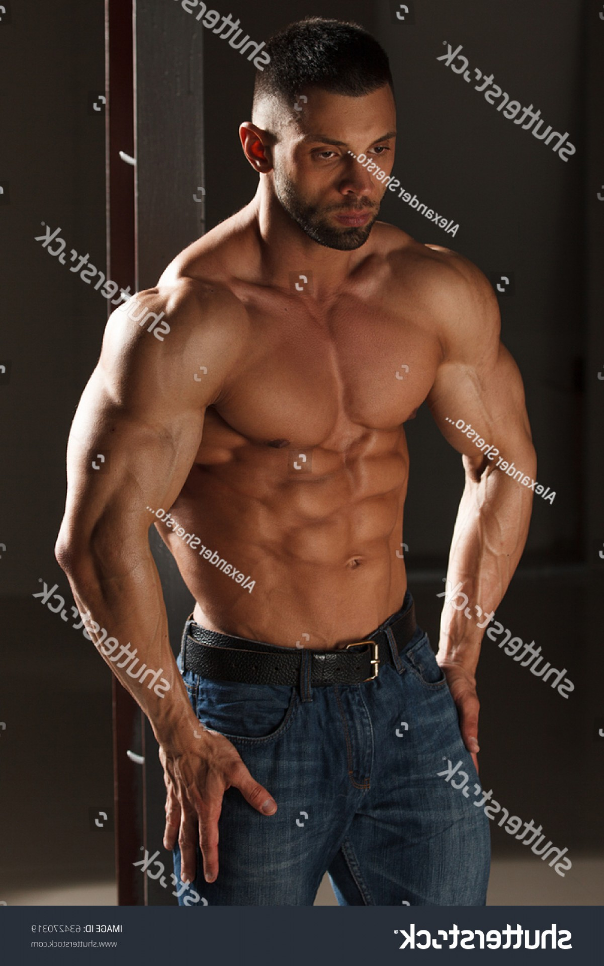 Vector Abstract Woman Bodybuilder Physique: Portrait Handsome Young Man Great Physique