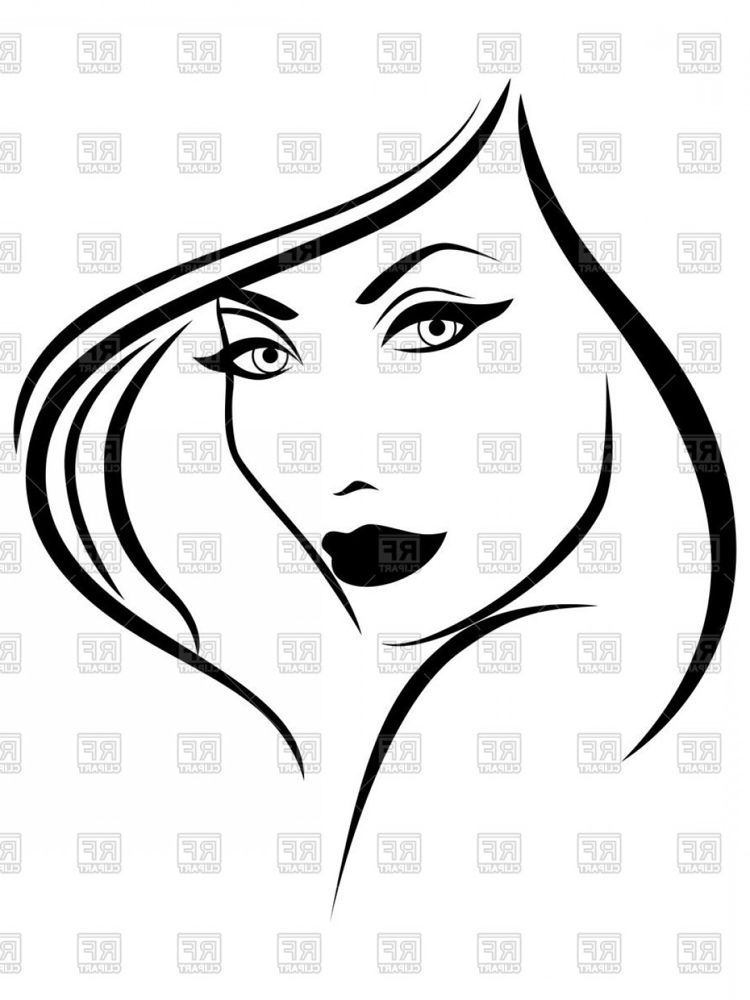 Black Beauty Vector Face: Portrait Of Beautiful Young Woman Sketching Glamourous Face Vector Clipart