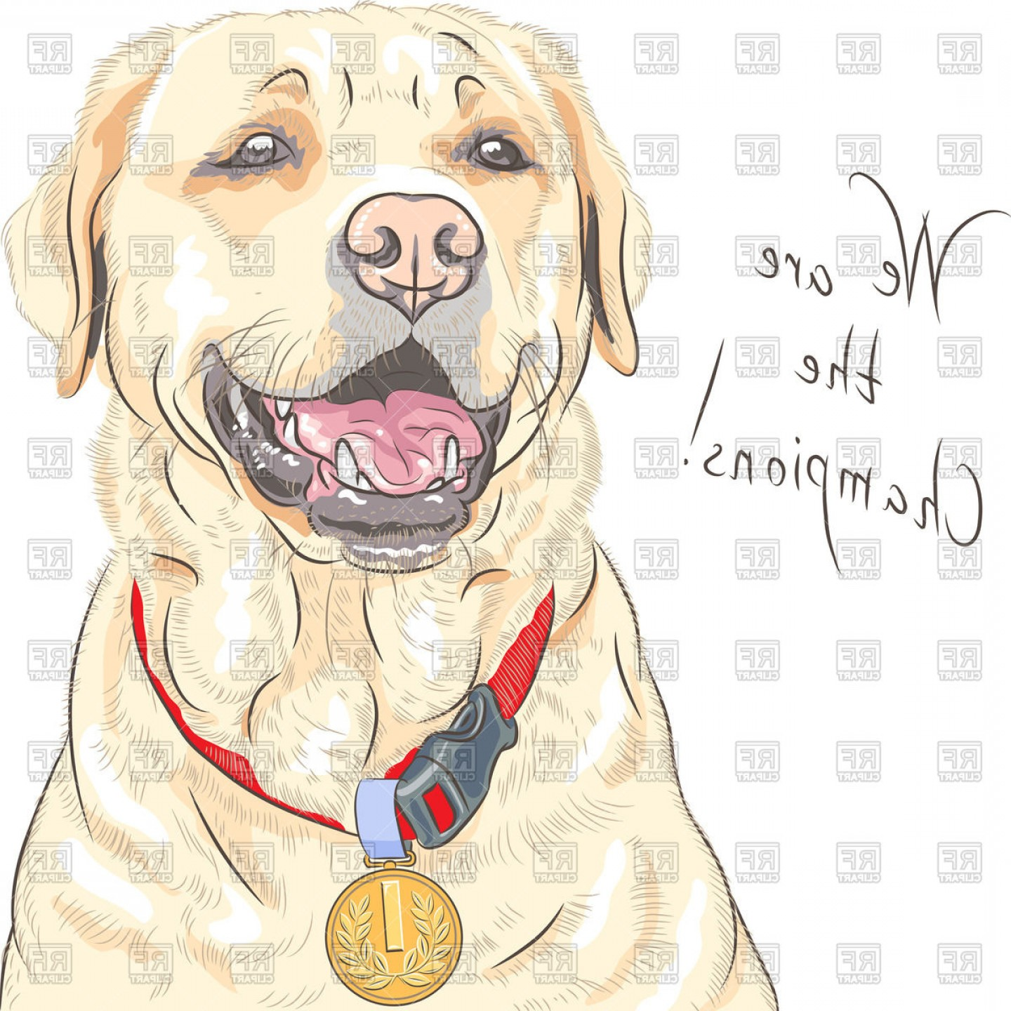 Champion Vector Art: Portrait Of Happy Champion Dog Labrador Retriever With Medal Vector Clipart