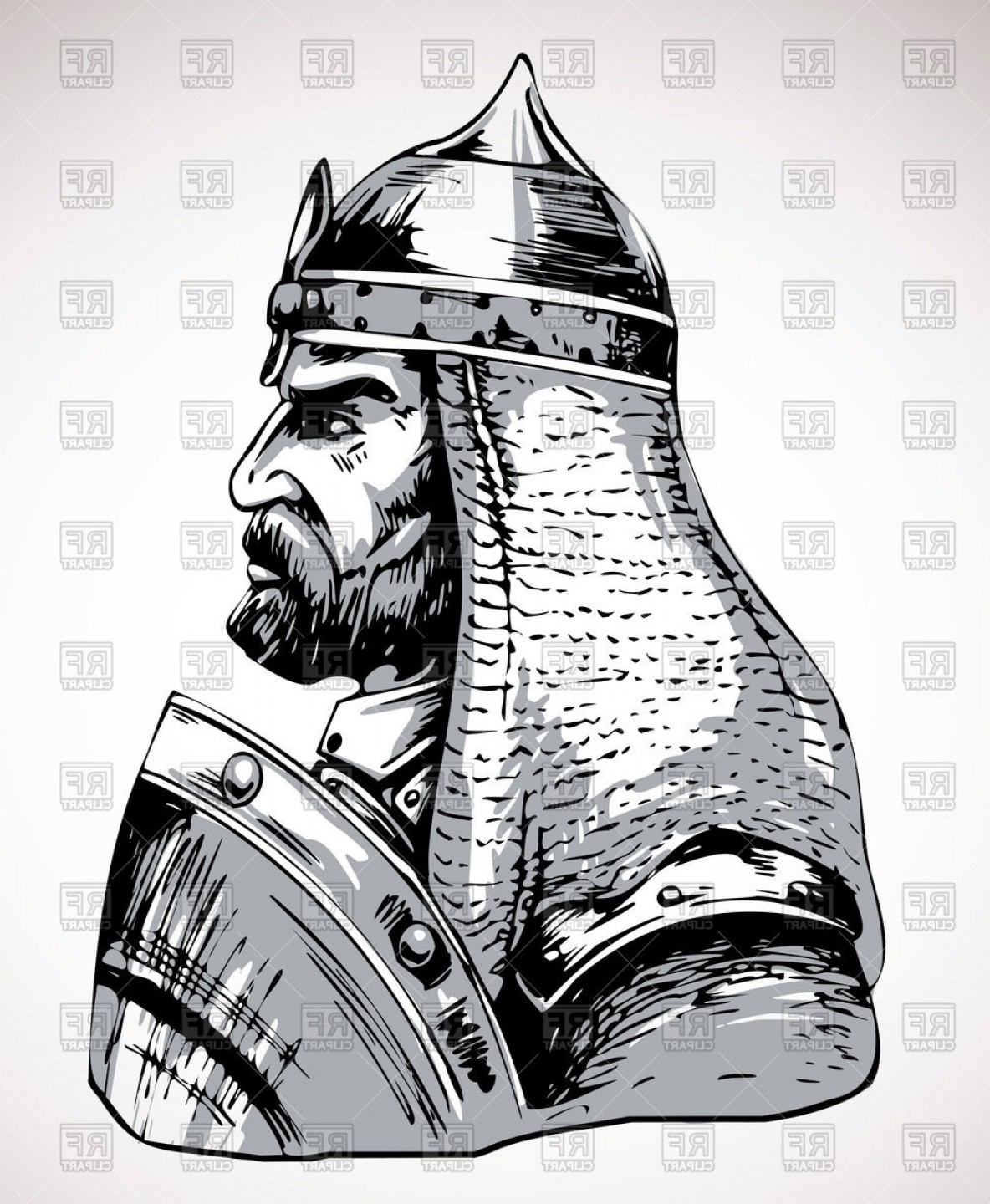 Warrior Vector Art: Portrait Of Medieval Warrior Vector Clipart