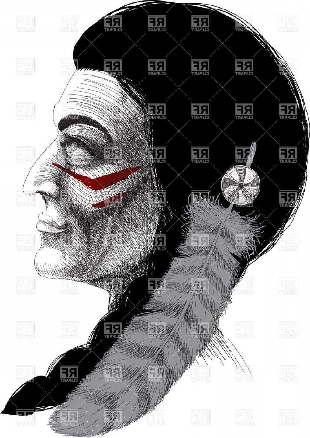 American Indian Chief Vector: Portrait Of Tribal Chief Of American Indian Warrior With A Feather In Hair Vector Clipart