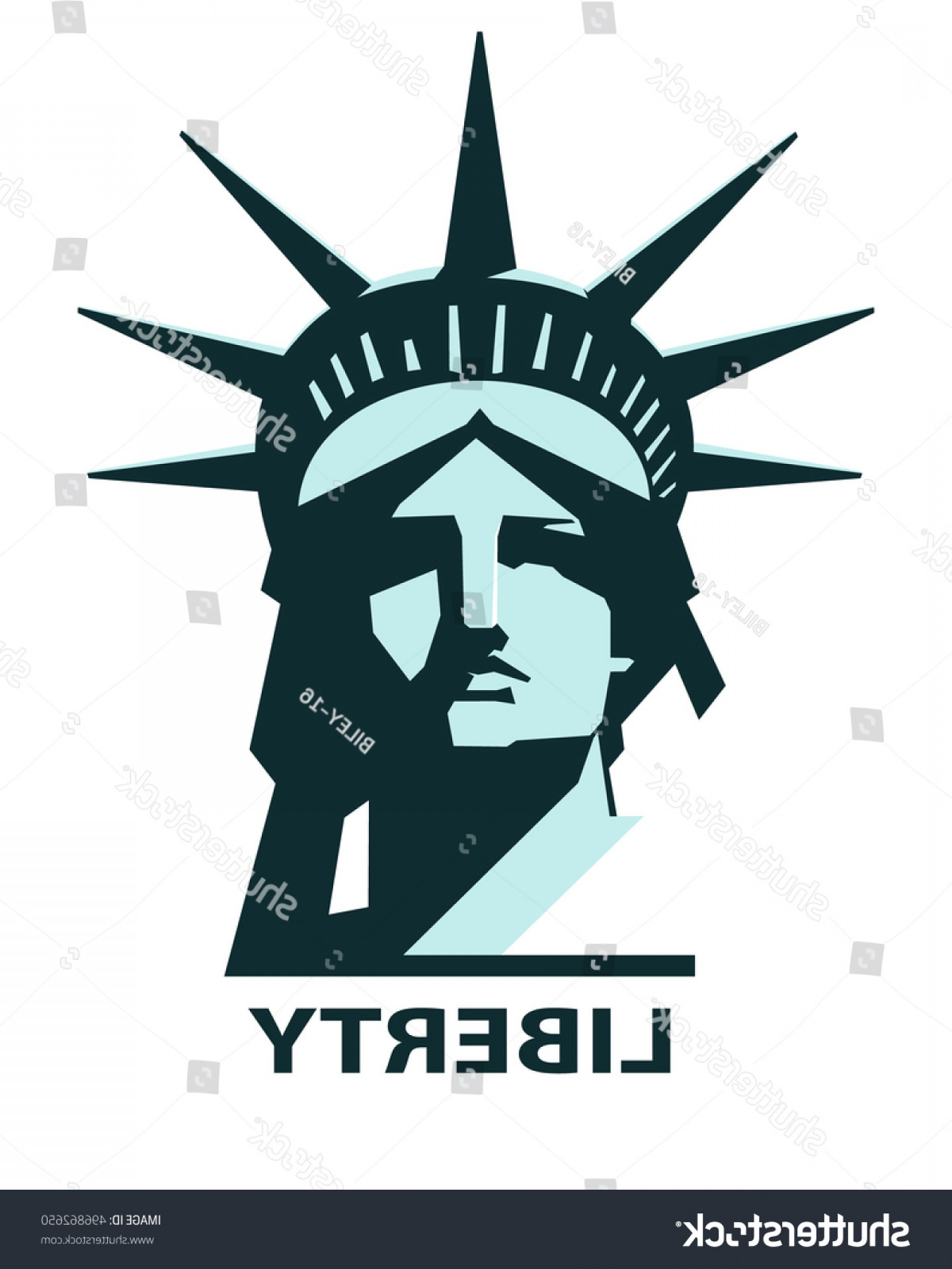 Statue Of Liberty Face Vector: Portrait Statue Liberty Usa Turquoise Green