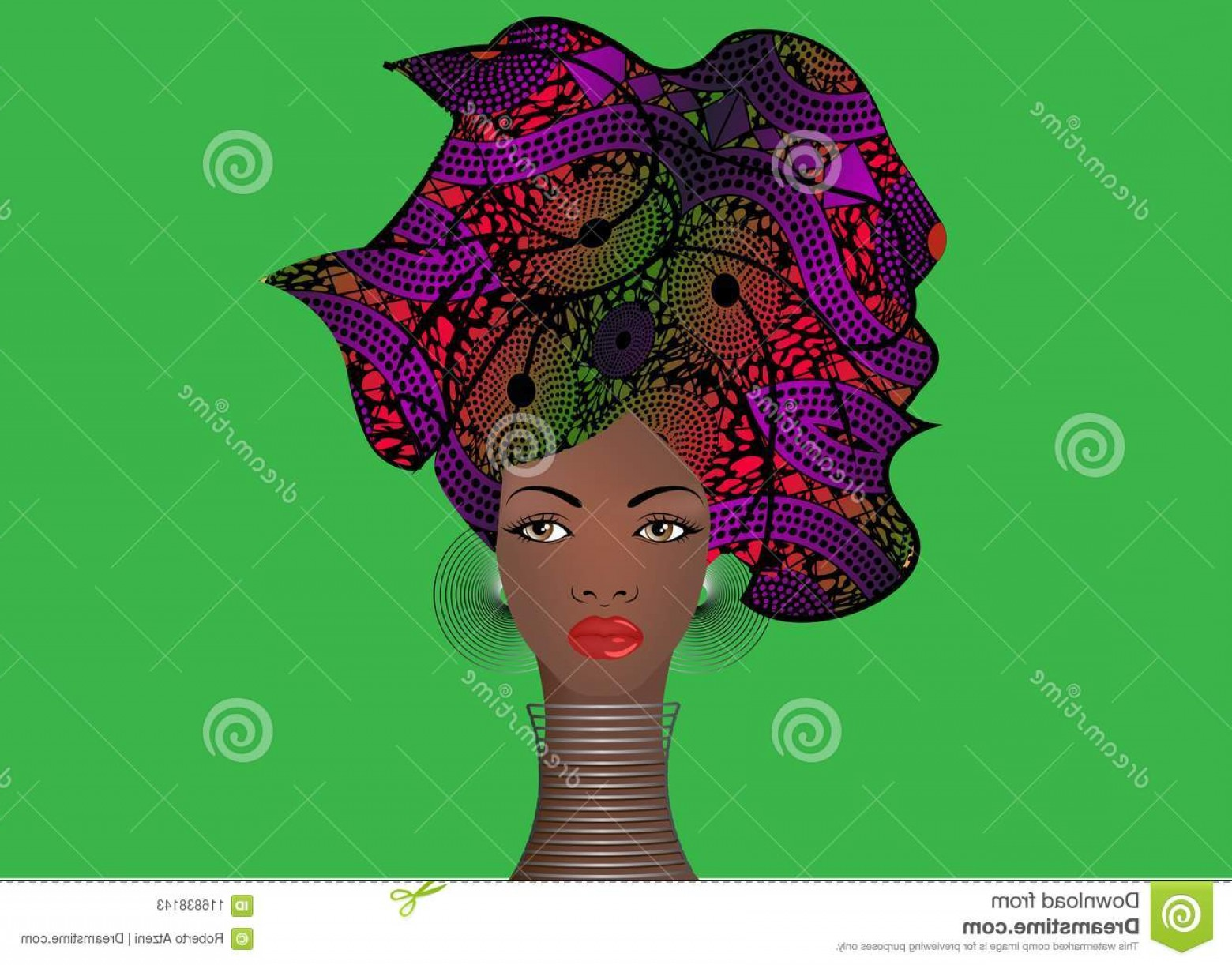 Black Beauty Vector Face: Portrait Young Black Woman Turban Animation African Beauty Vector Color Illustration Isolated Batik Background Image