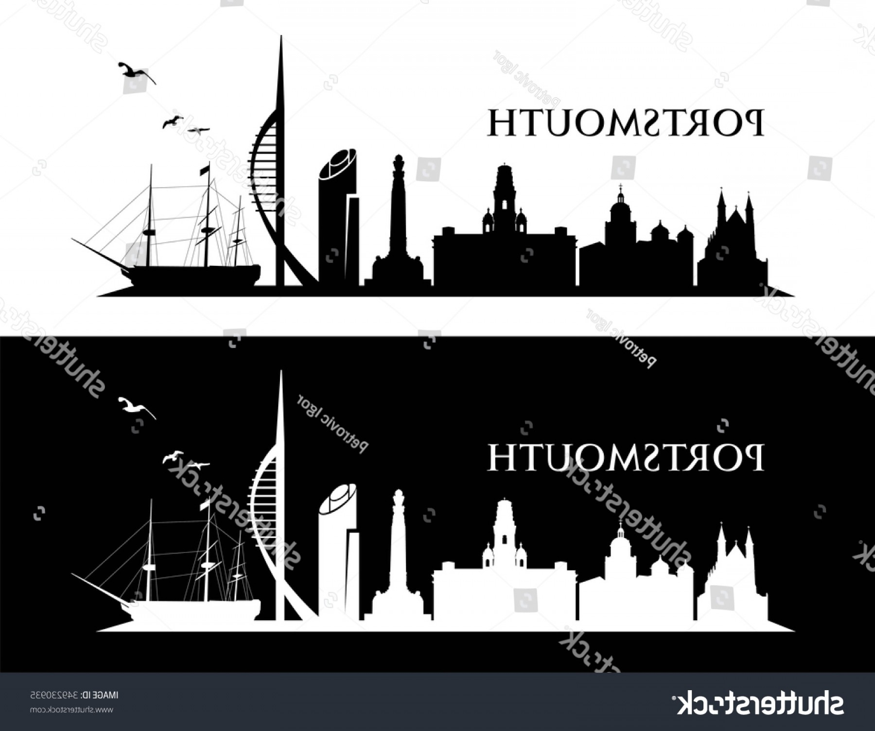 UK Skyline Vector: Portsmouth Uk Skyline Vector Illustration