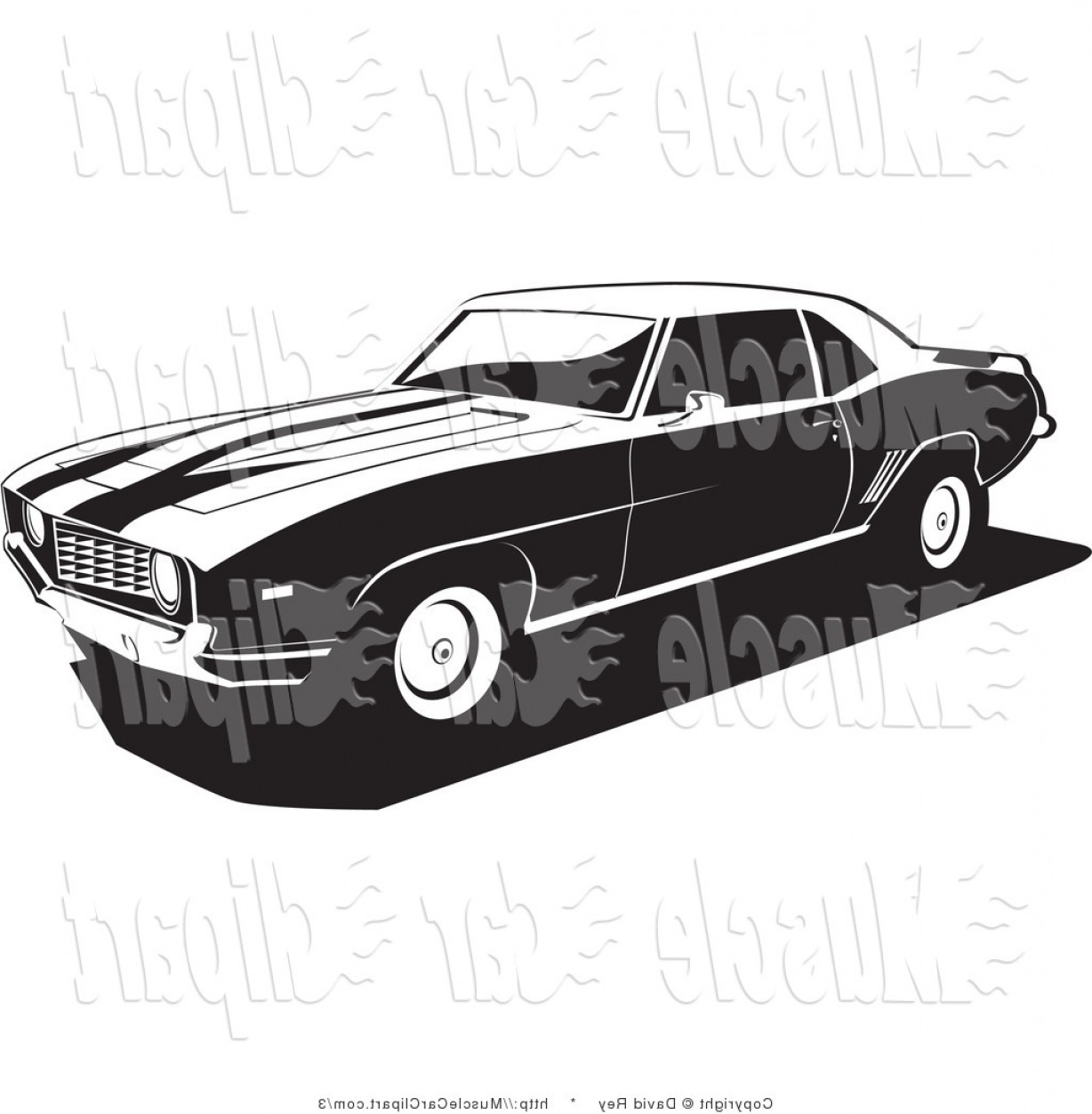1969 Camaro Vector: Postcamaro Vector Art Black And White